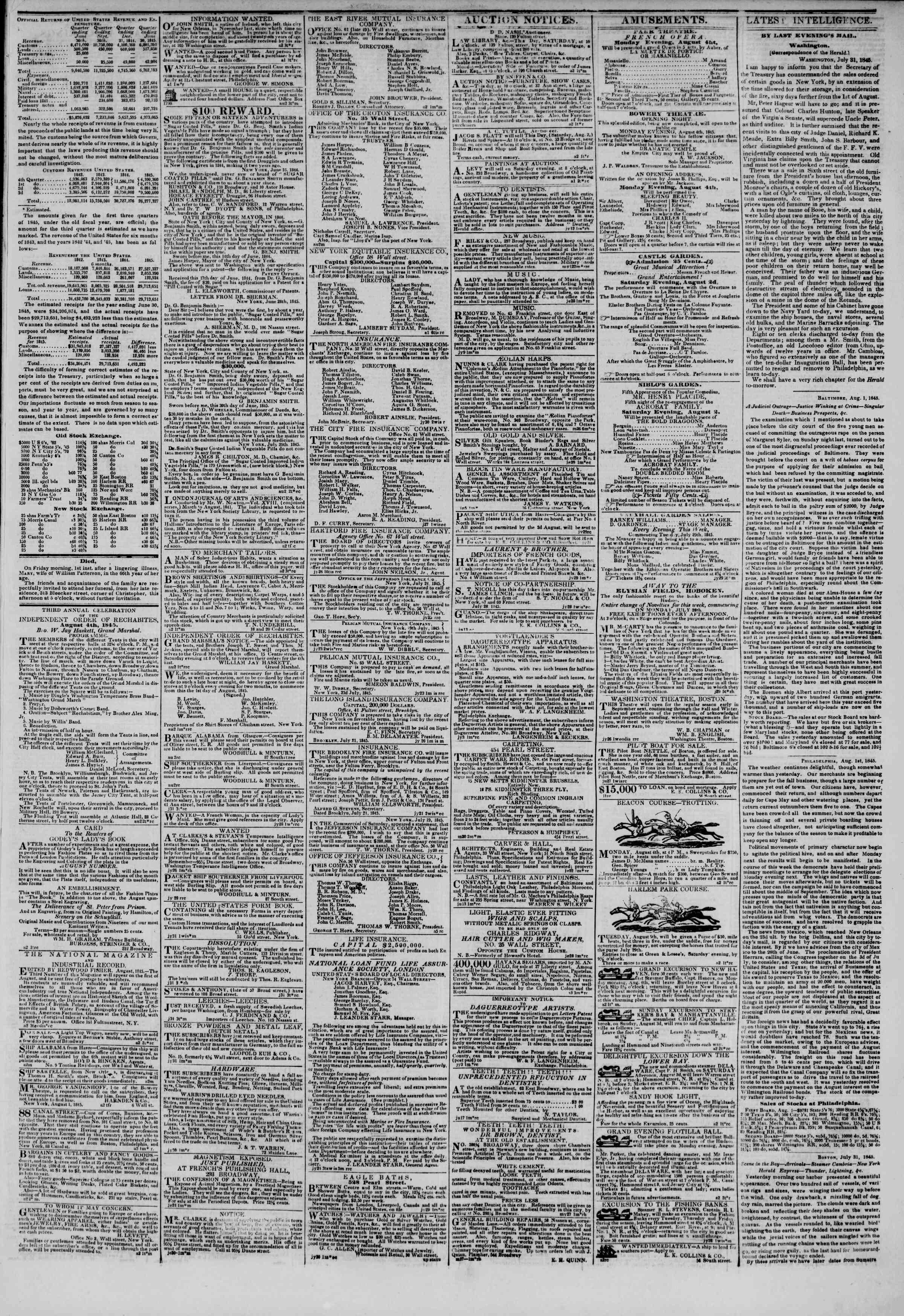 August 2, 1845 Tarihli The New York Herald Gazetesi Sayfa 3
