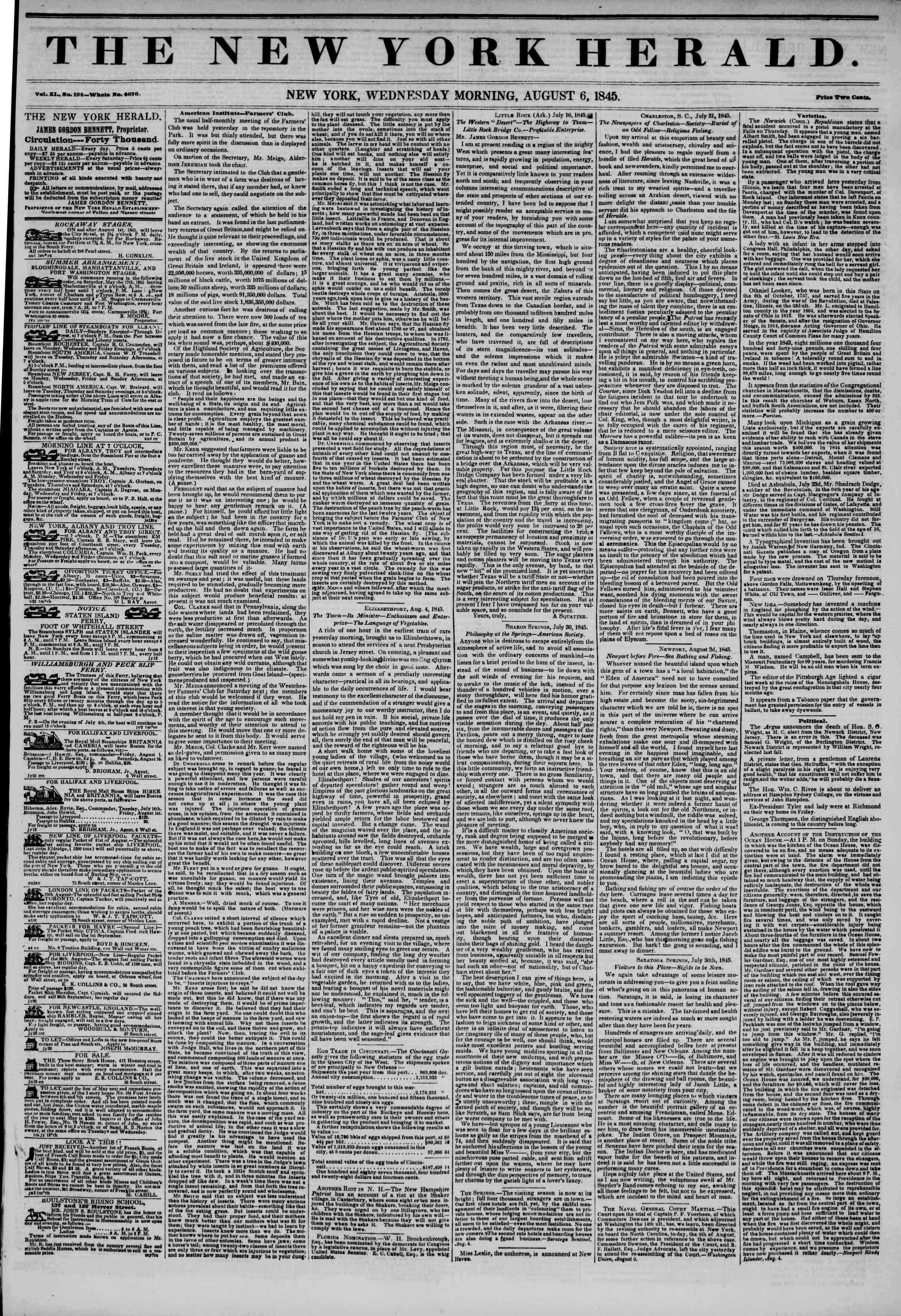 August 6, 1845 Tarihli The New York Herald Gazetesi Sayfa 1