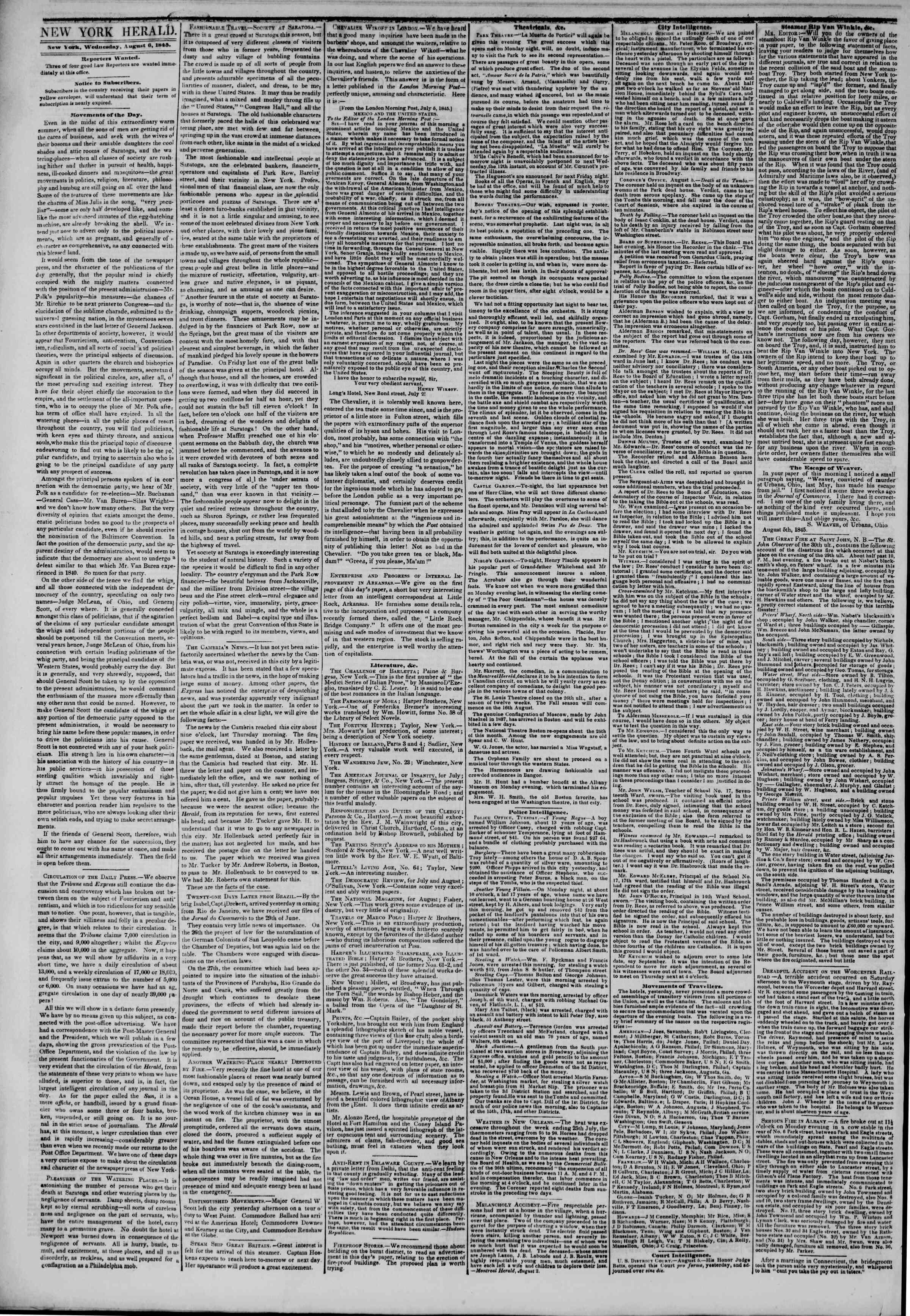August 6, 1845 Tarihli The New York Herald Gazetesi Sayfa 2