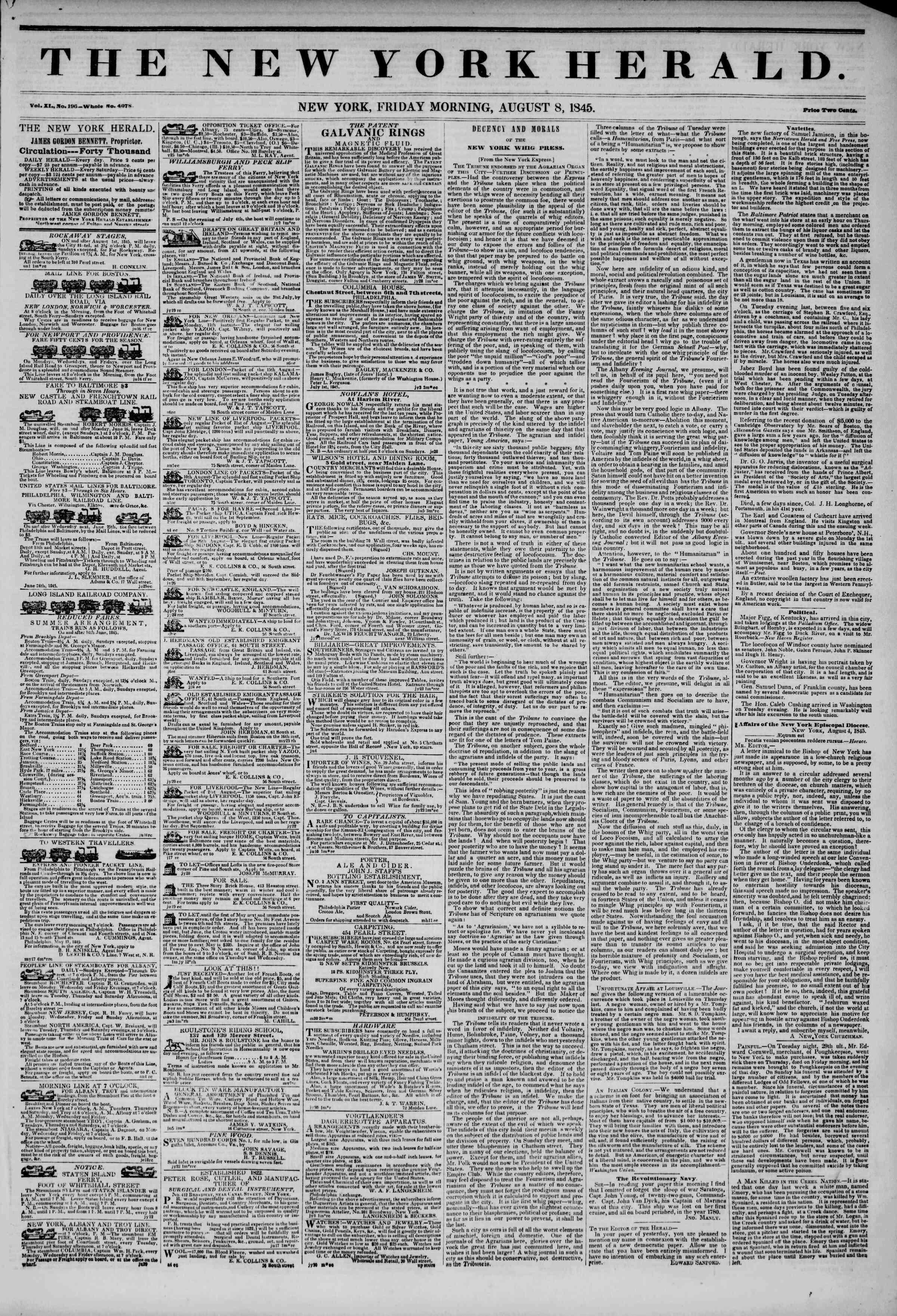 Newspaper of The New York Herald dated August 8, 1845 Page 1