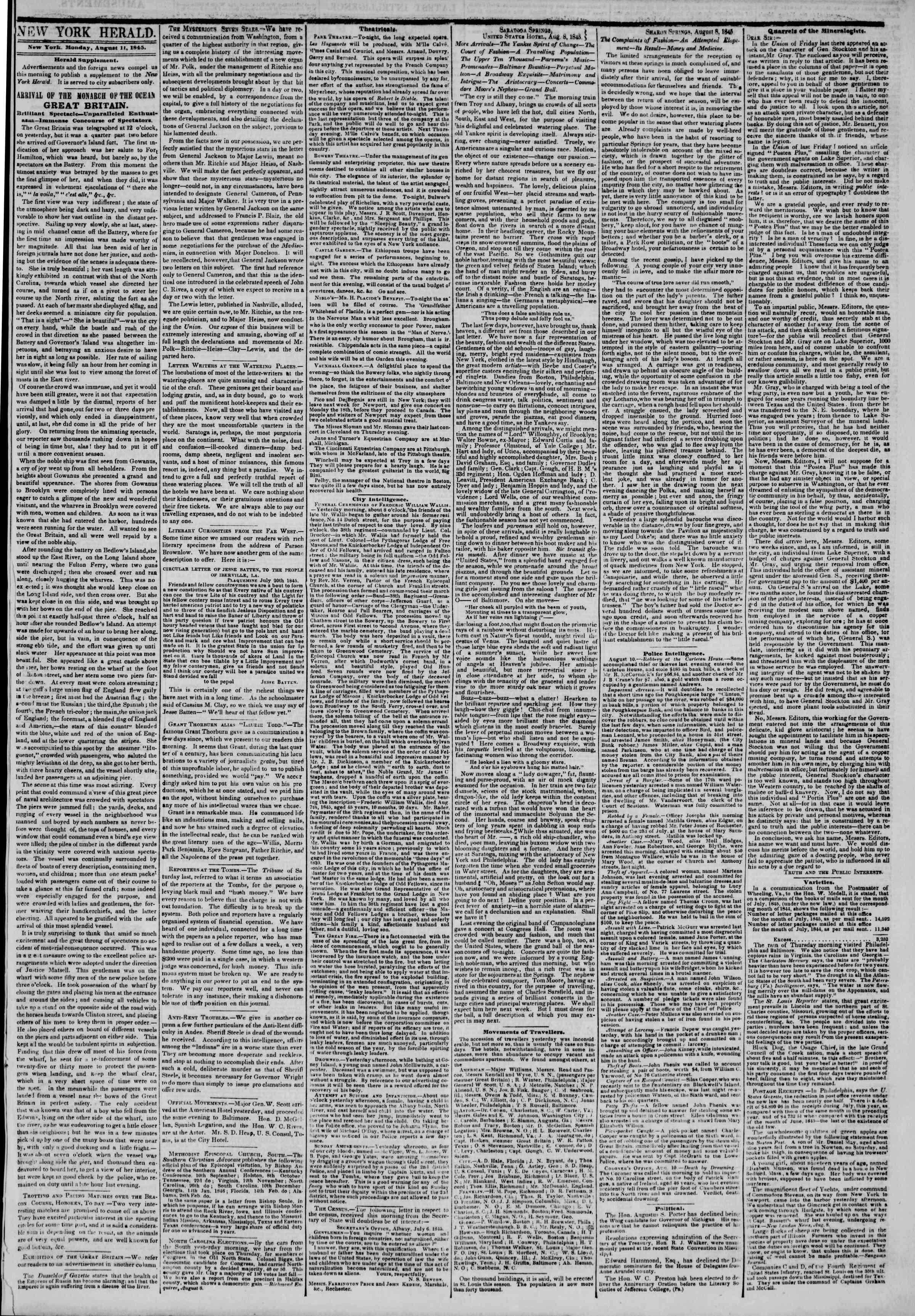August 11, 1845 Tarihli The New York Herald Gazetesi Sayfa 3