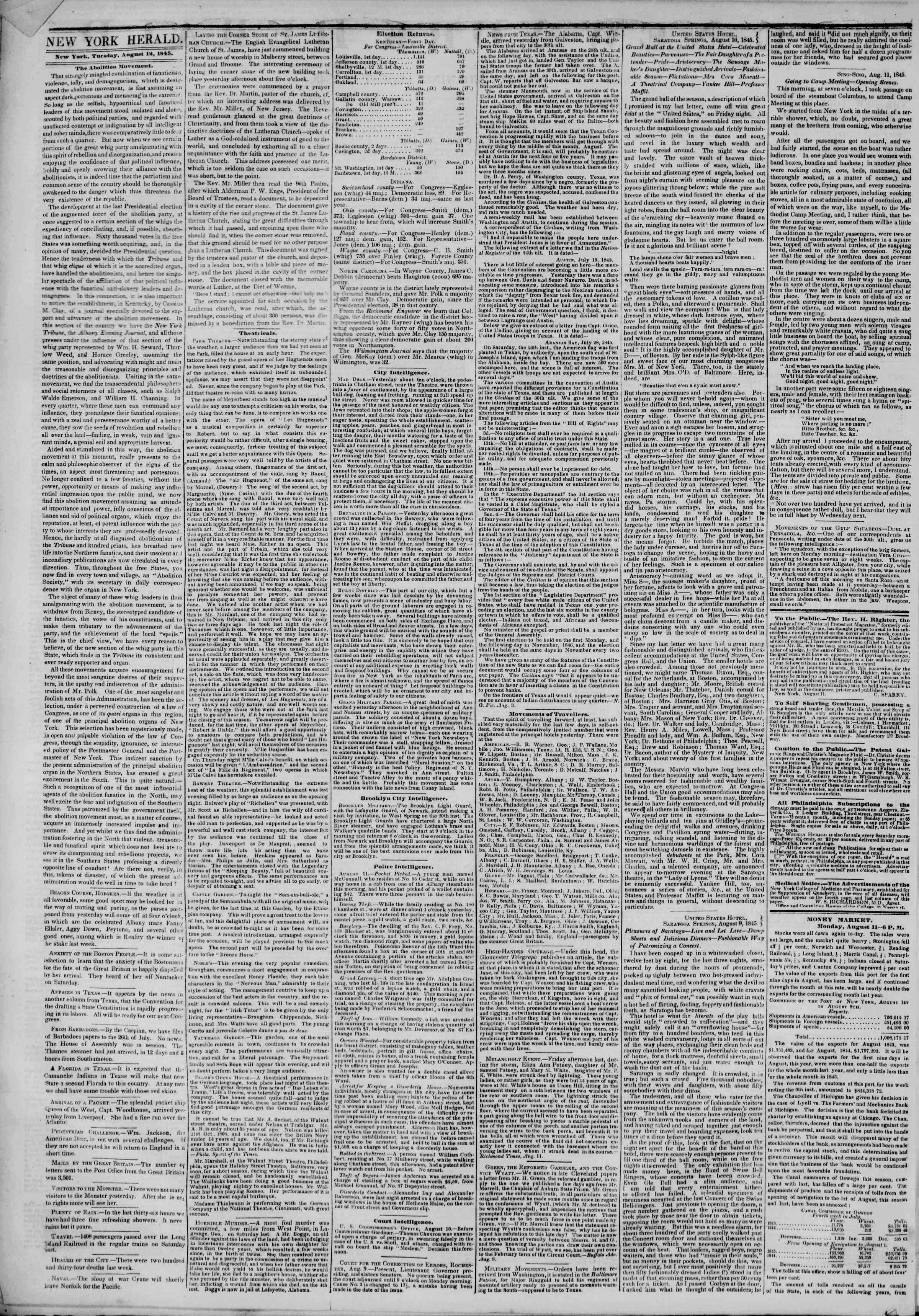 Newspaper of The New York Herald dated August 12, 1845 Page 2