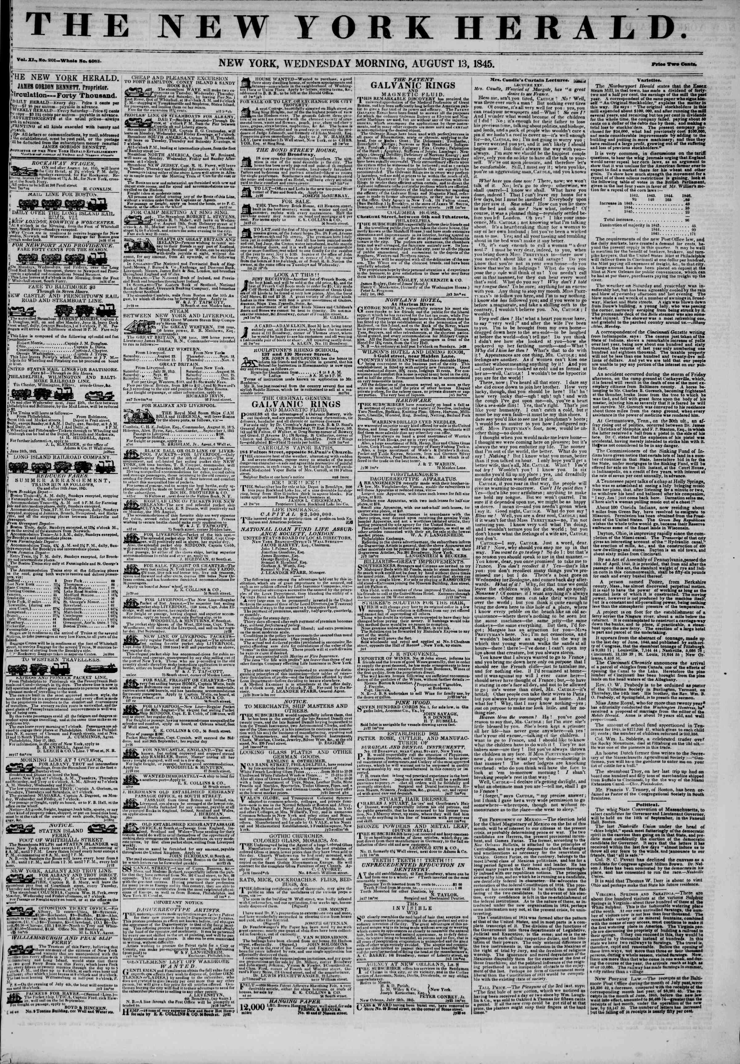Newspaper of The New York Herald dated August 13, 1845 Page 1