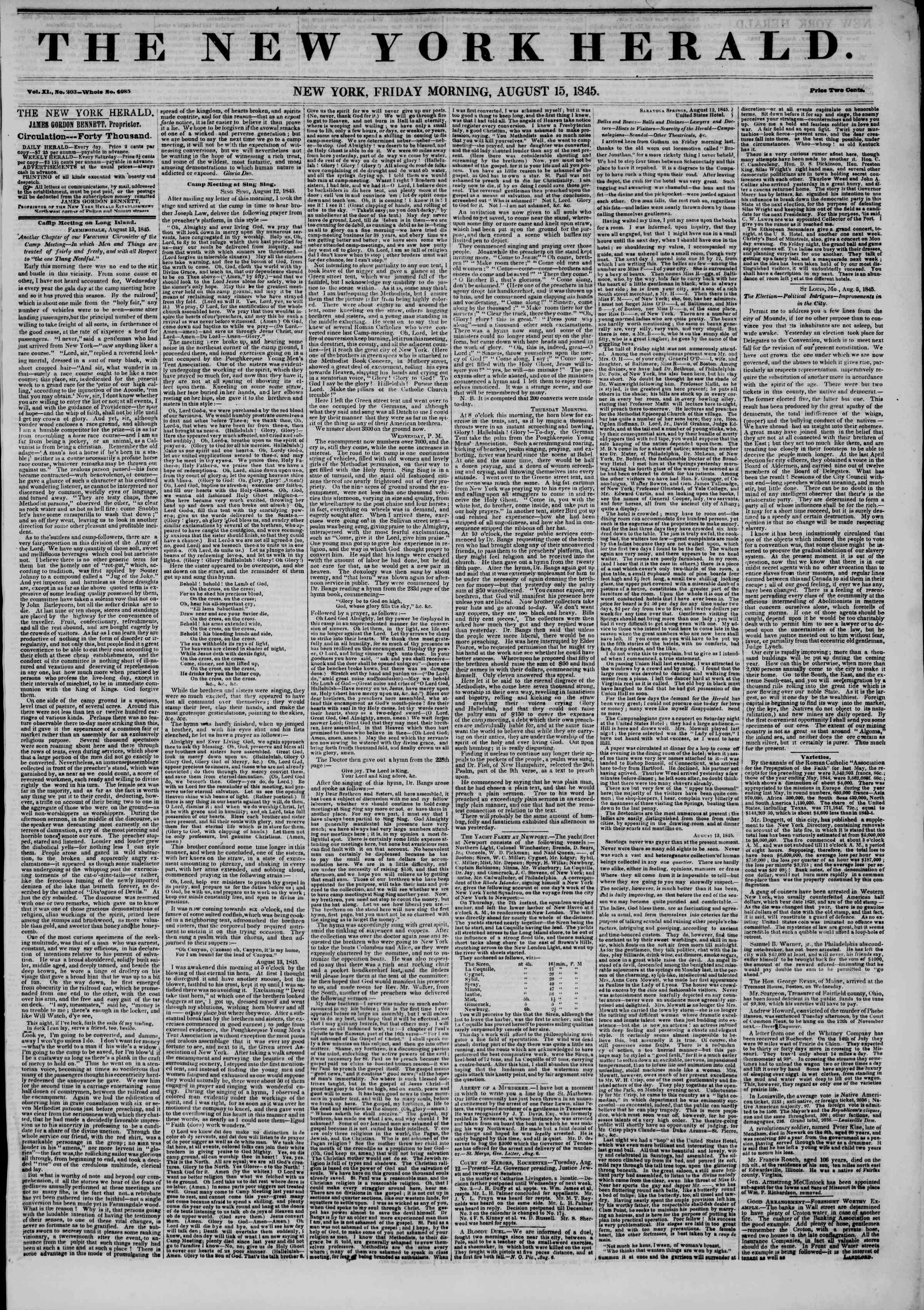 Newspaper of The New York Herald dated August 15, 1845 Page 1