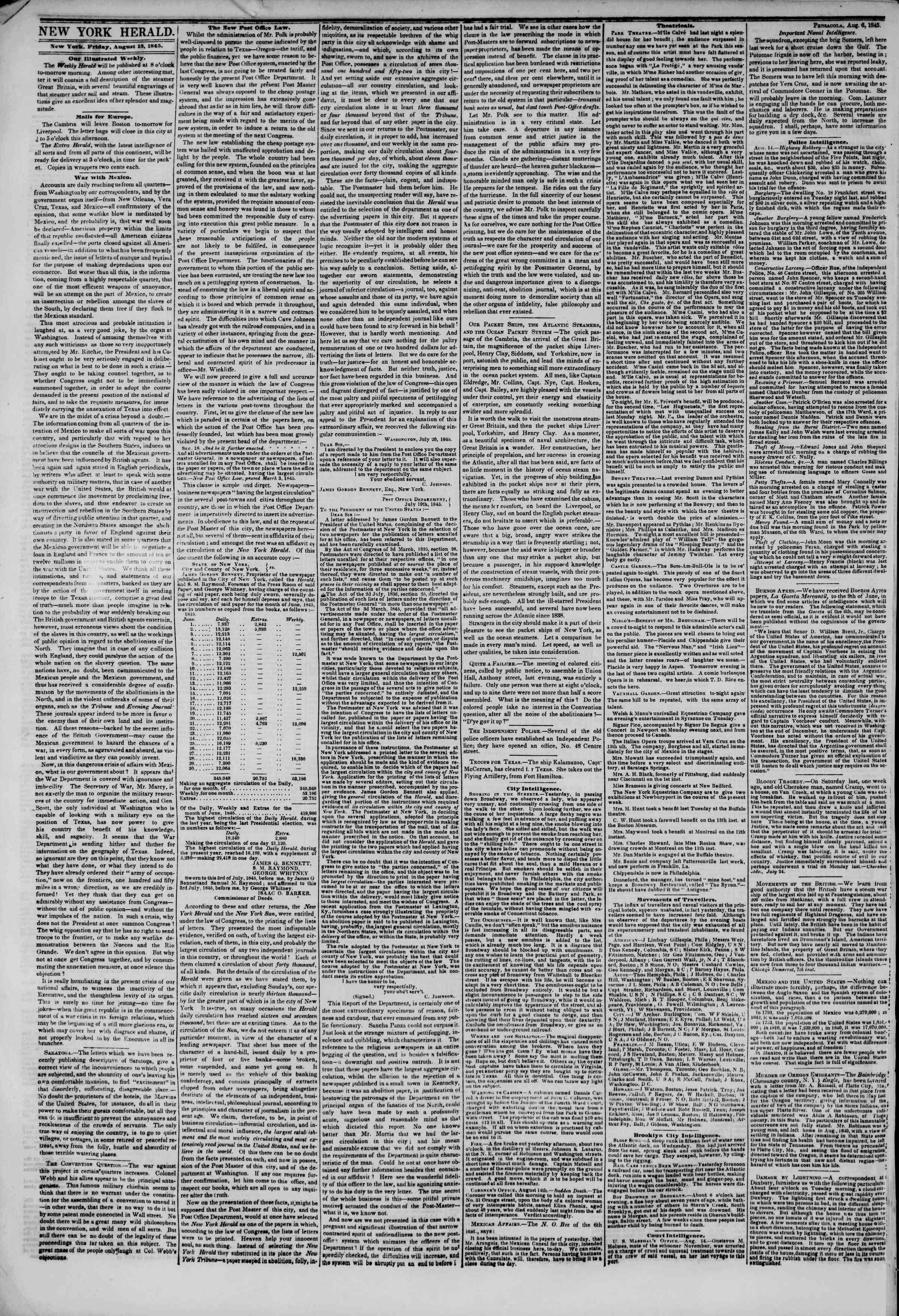August 15, 1845 Tarihli The New York Herald Gazetesi Sayfa 2