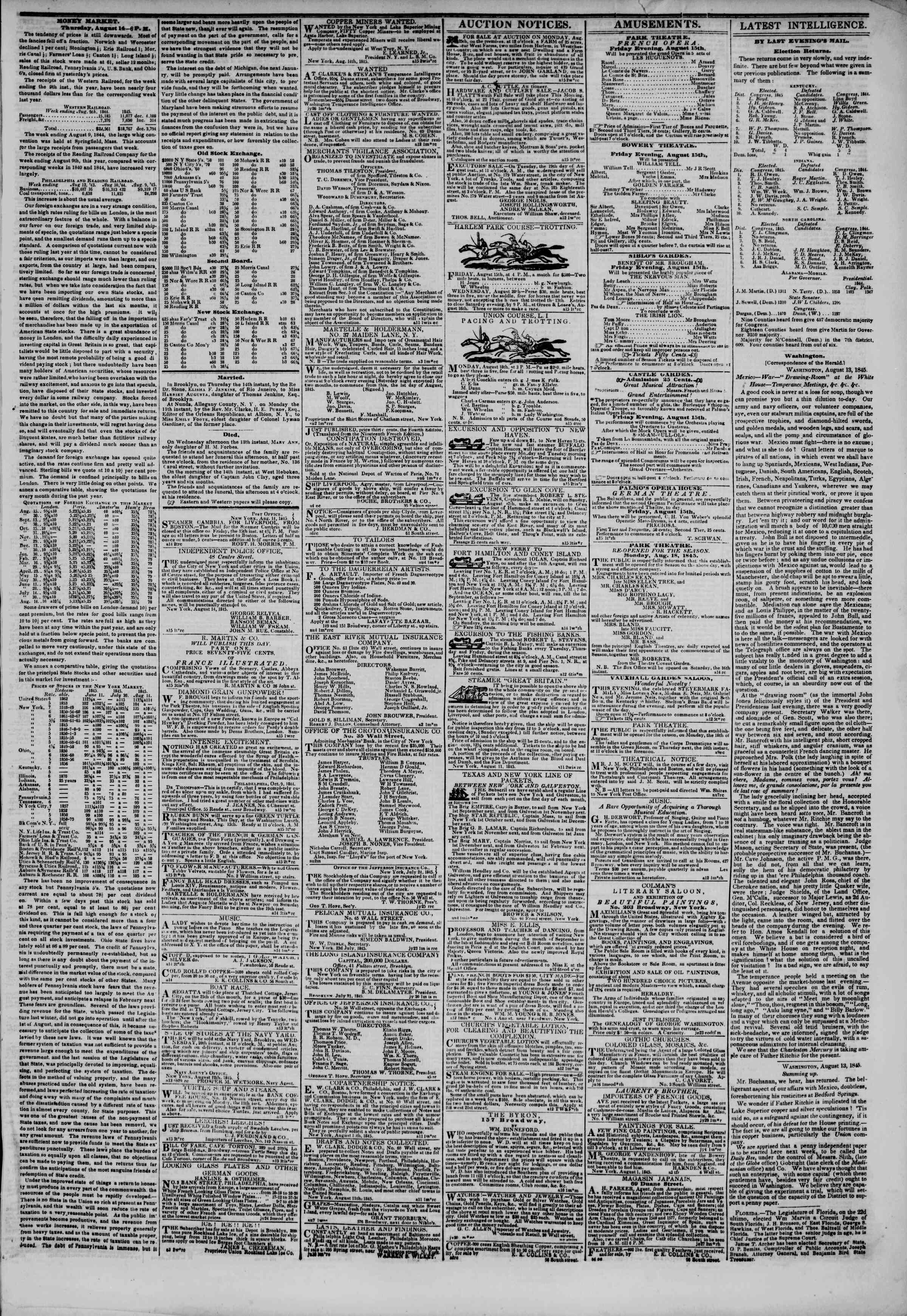 Newspaper of The New York Herald dated August 15, 1845 Page 3