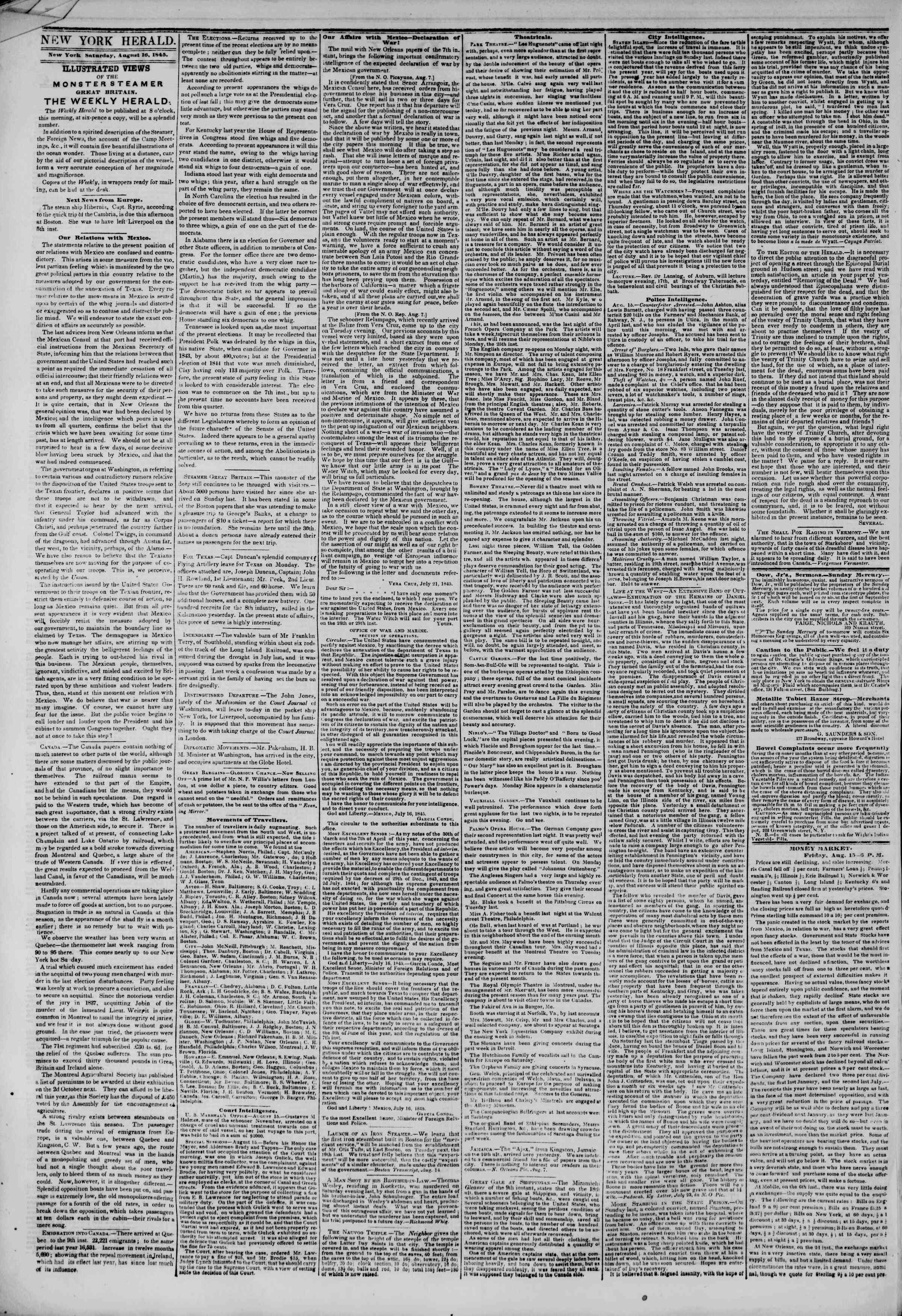 Newspaper of The New York Herald dated August 16, 1845 Page 2