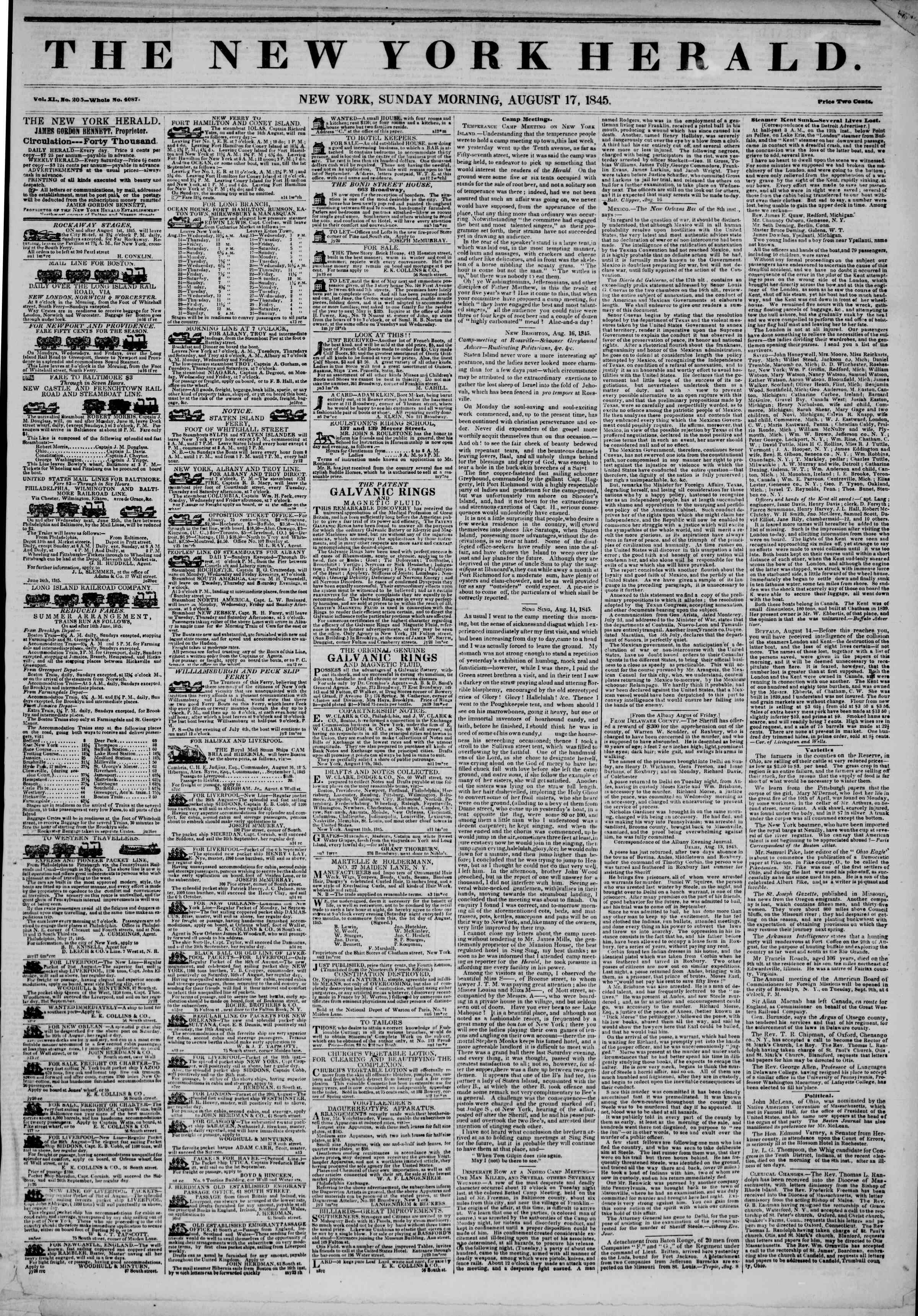Newspaper of The New York Herald dated August 17, 1845 Page 1