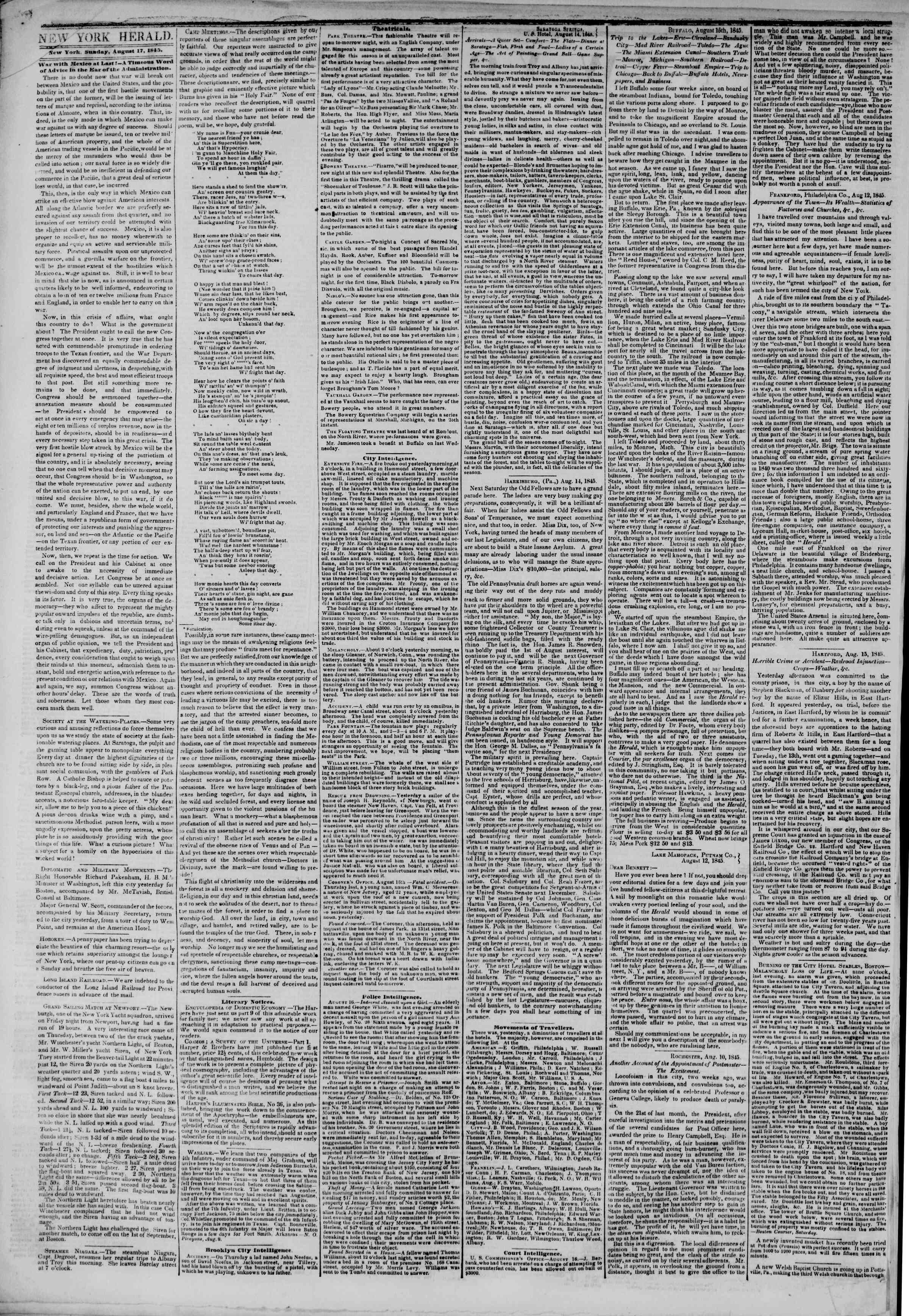 Newspaper of The New York Herald dated August 17, 1845 Page 2