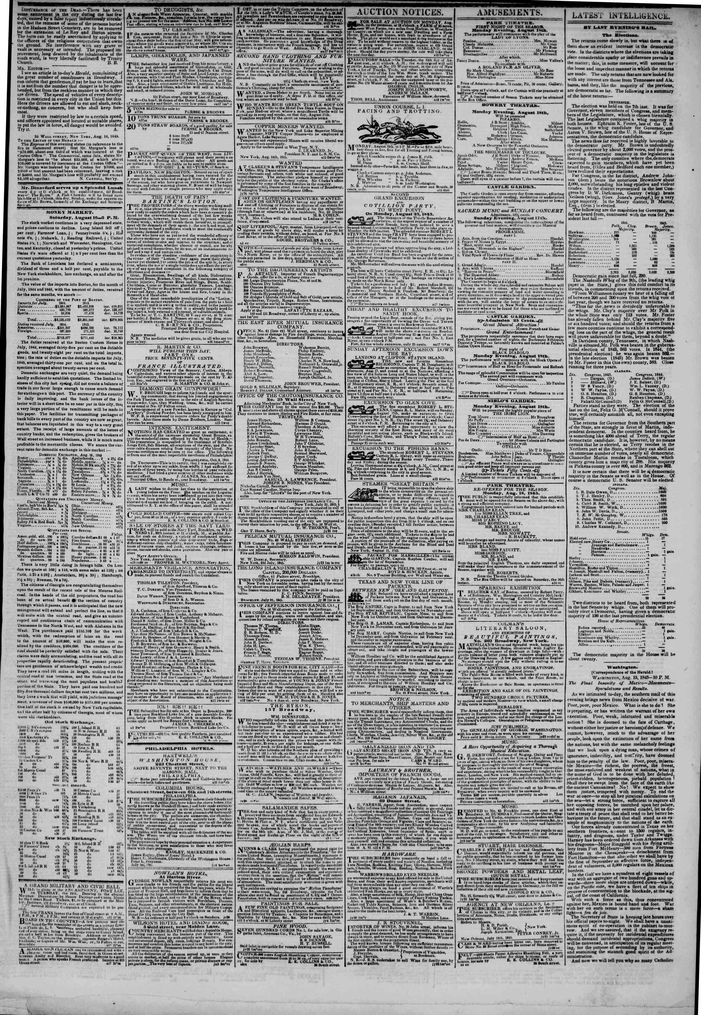 17 Ağustos 1845 tarihli The New York Herald Gazetesi Sayfa 3