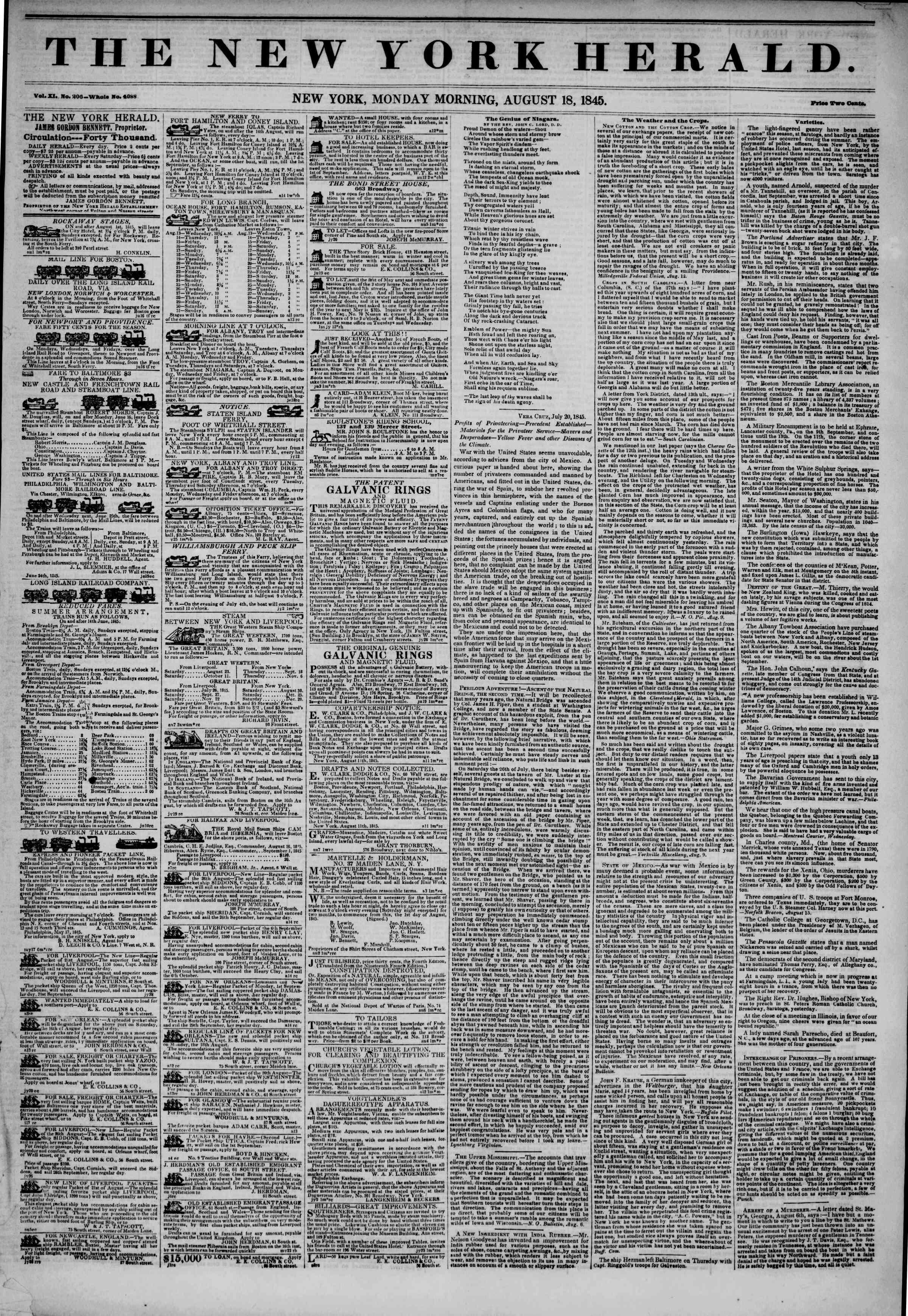 August 18, 1845 Tarihli The New York Herald Gazetesi Sayfa 1