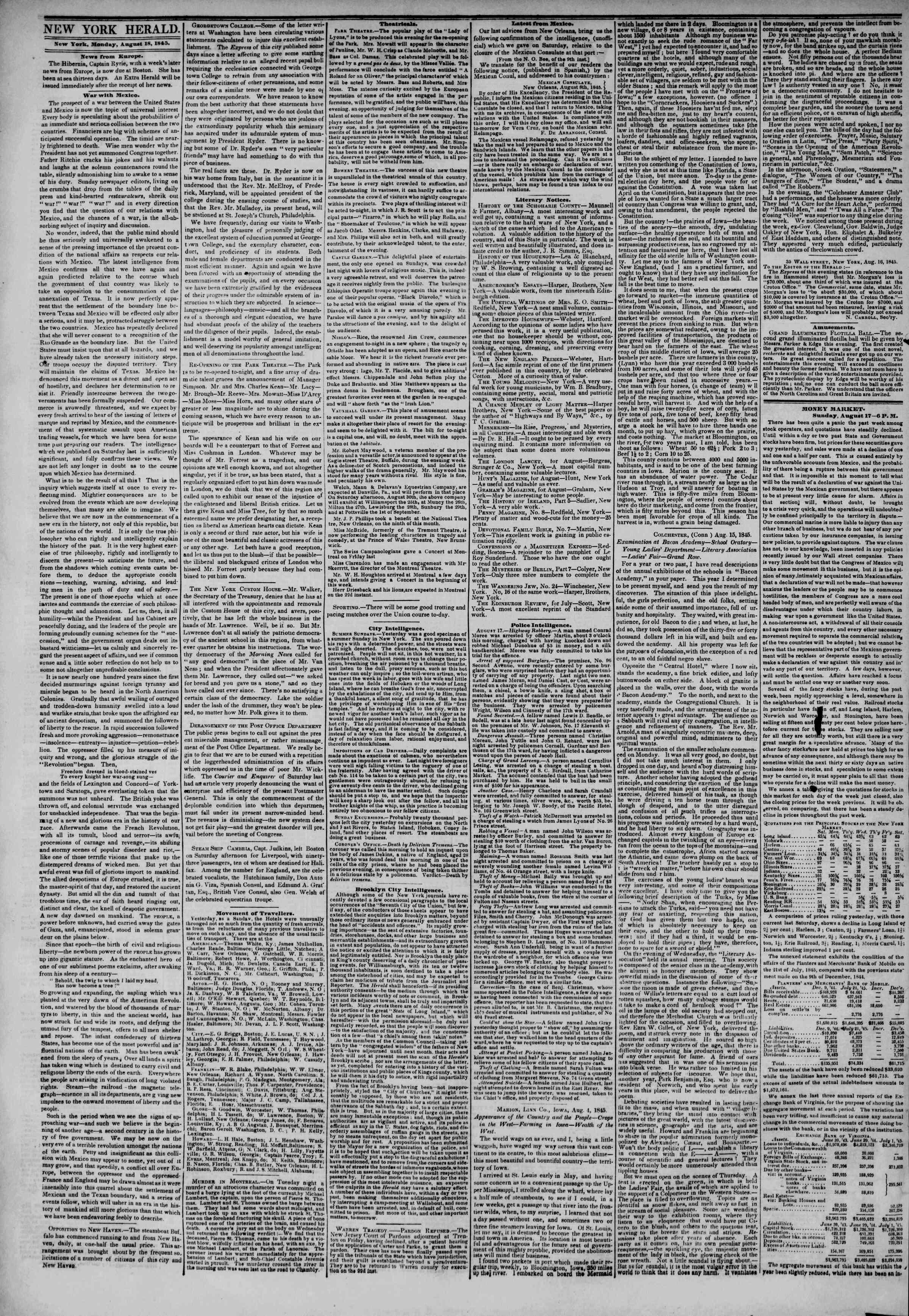 August 18, 1845 Tarihli The New York Herald Gazetesi Sayfa 2