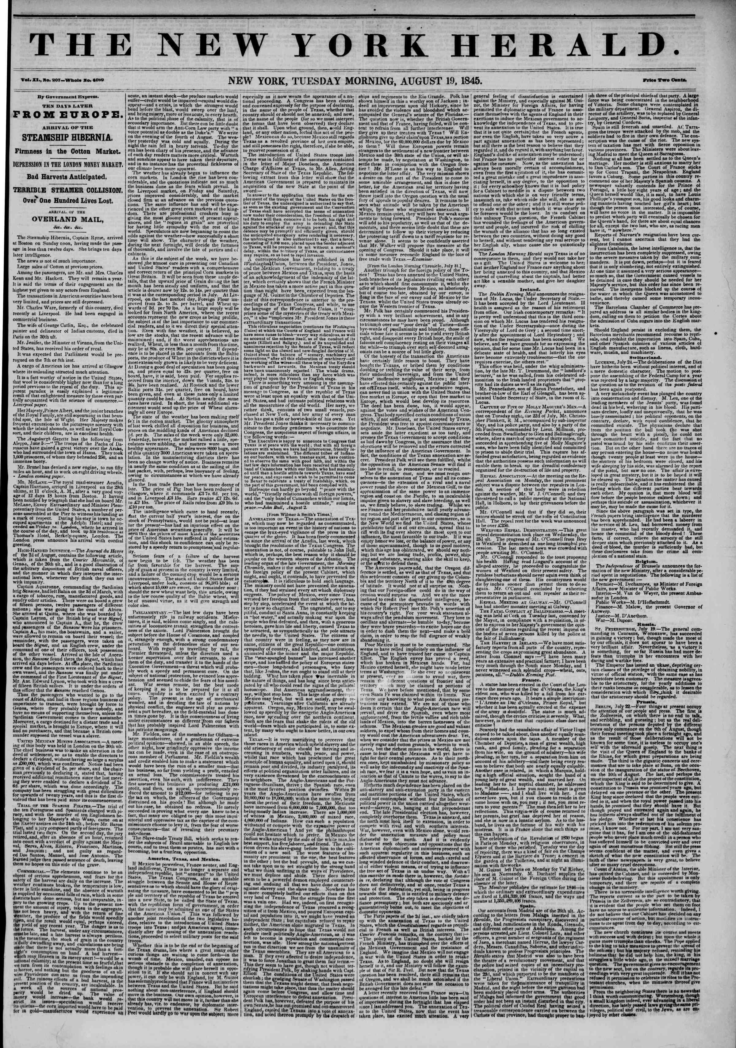 Newspaper of The New York Herald dated August 19, 1845 Page 1