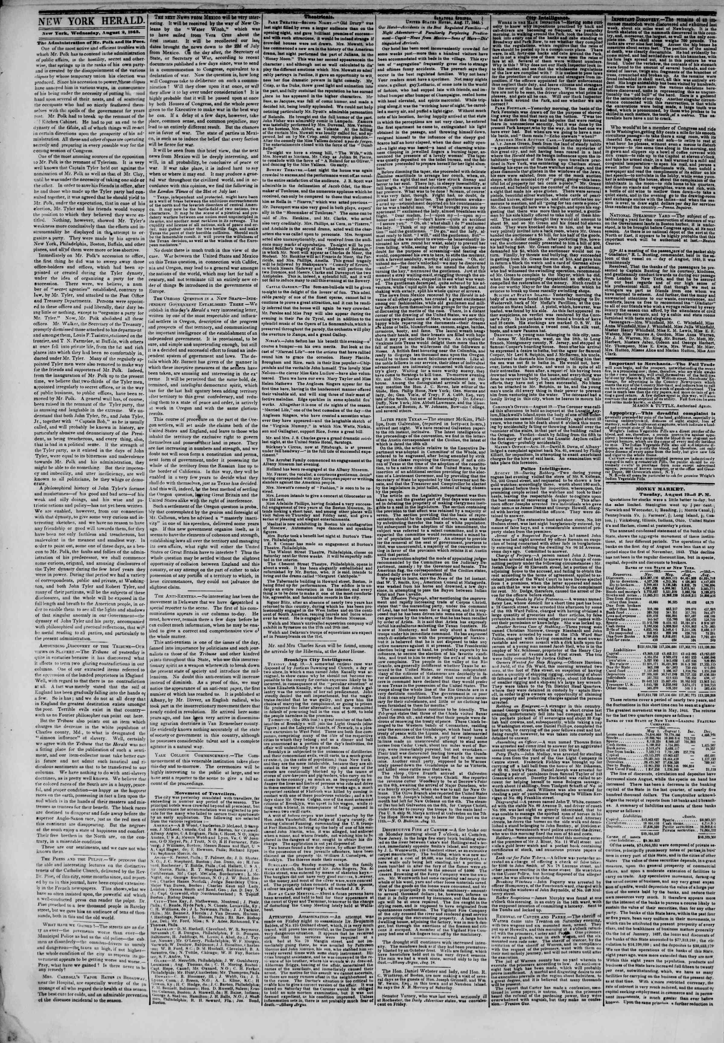 August 20, 1845 Tarihli The New York Herald Gazetesi Sayfa 2