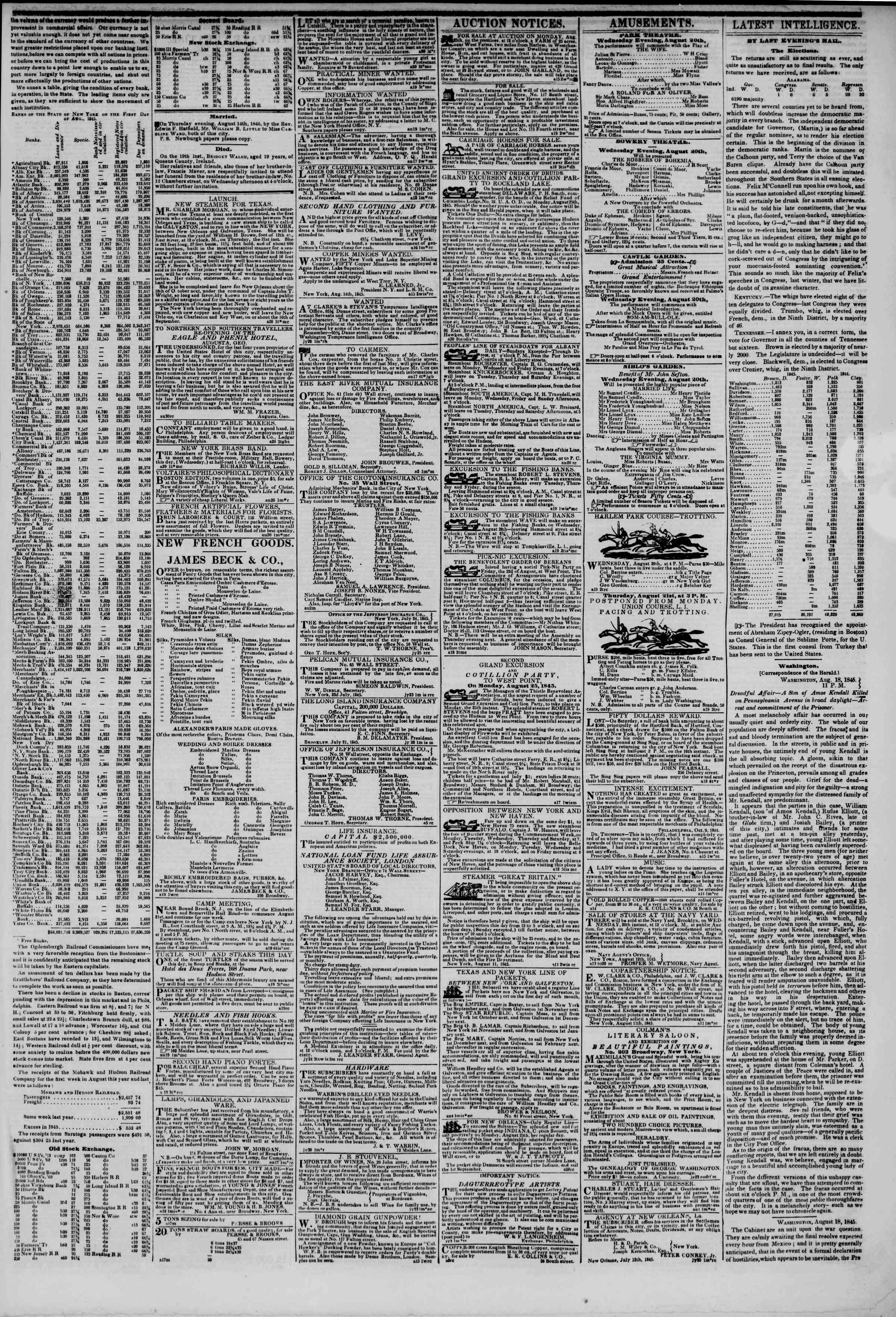 August 20, 1845 Tarihli The New York Herald Gazetesi Sayfa 3