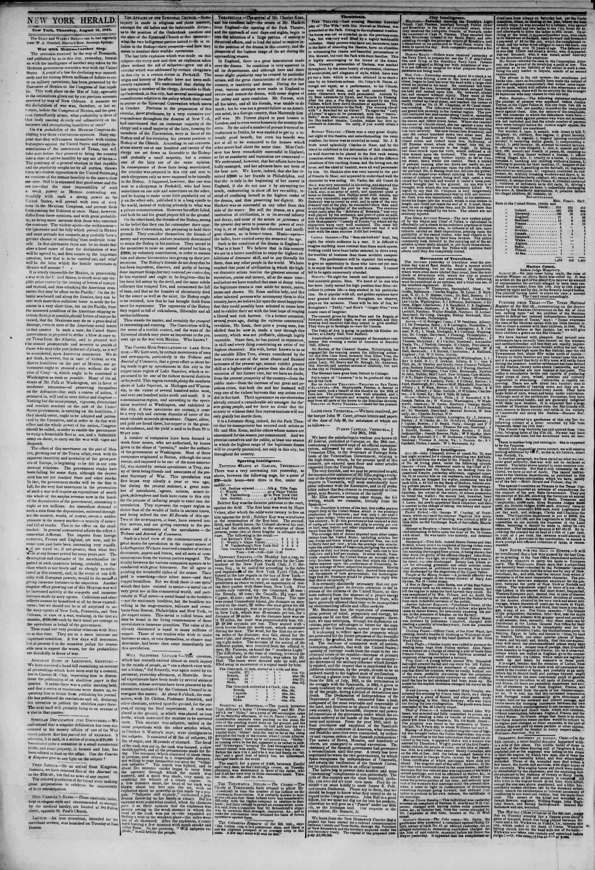 21 Ağustos 1845 Tarihli The New York Herald Gazetesi Sayfa 2