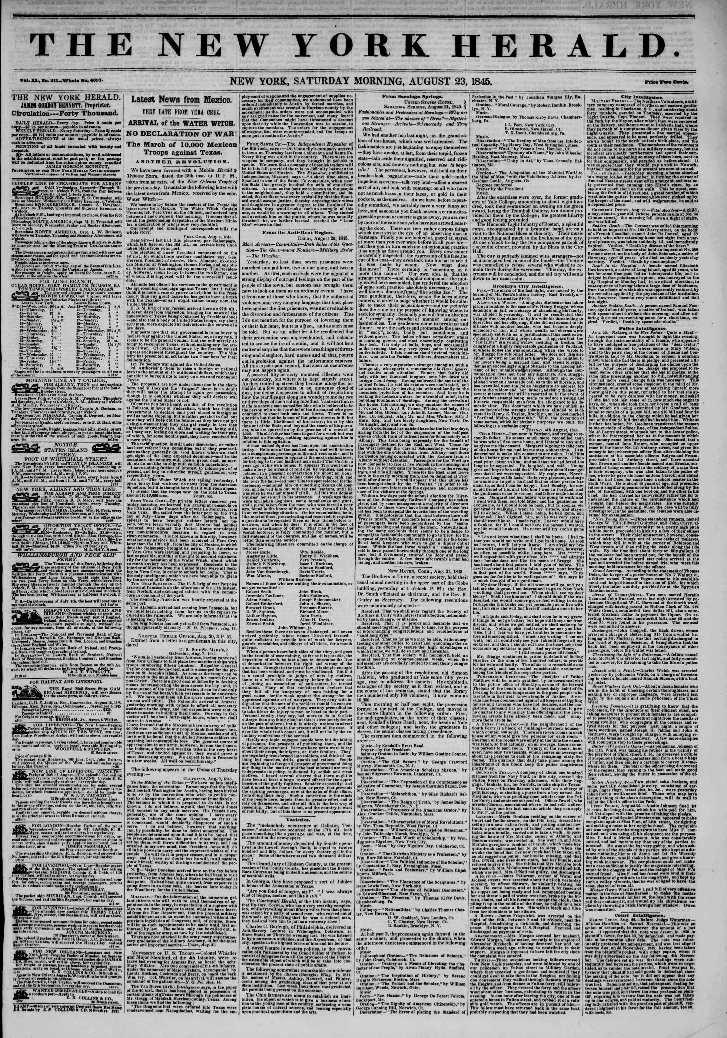 Newspaper of The New York Herald dated August 23, 1845 Page 1