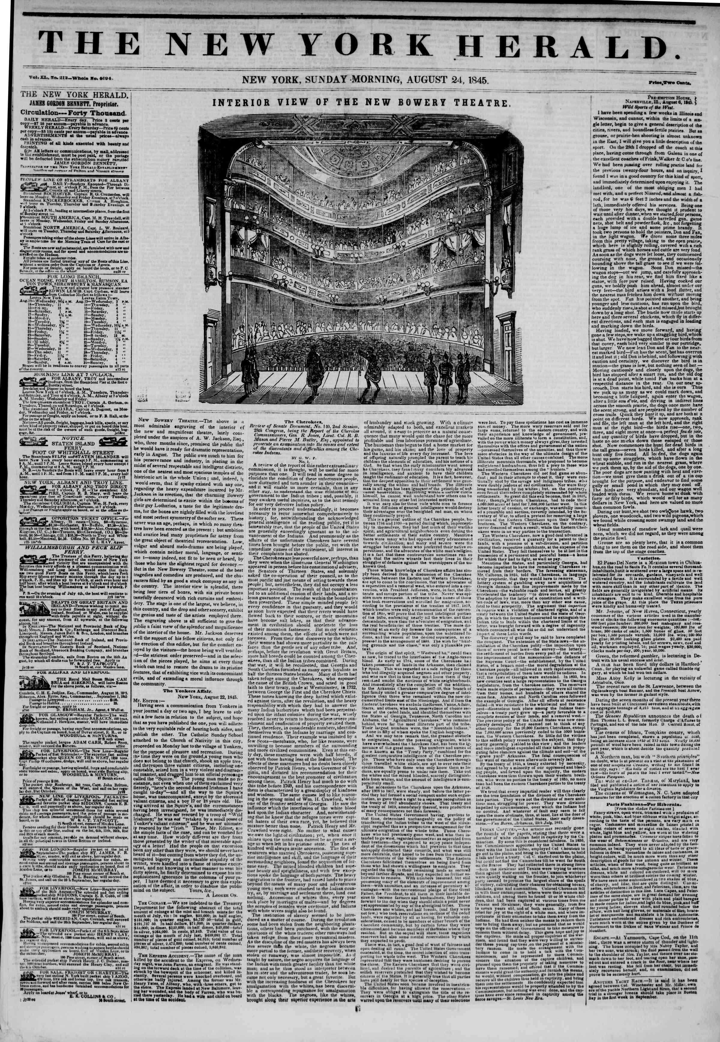 August 24, 1845 Tarihli The New York Herald Gazetesi Sayfa 1