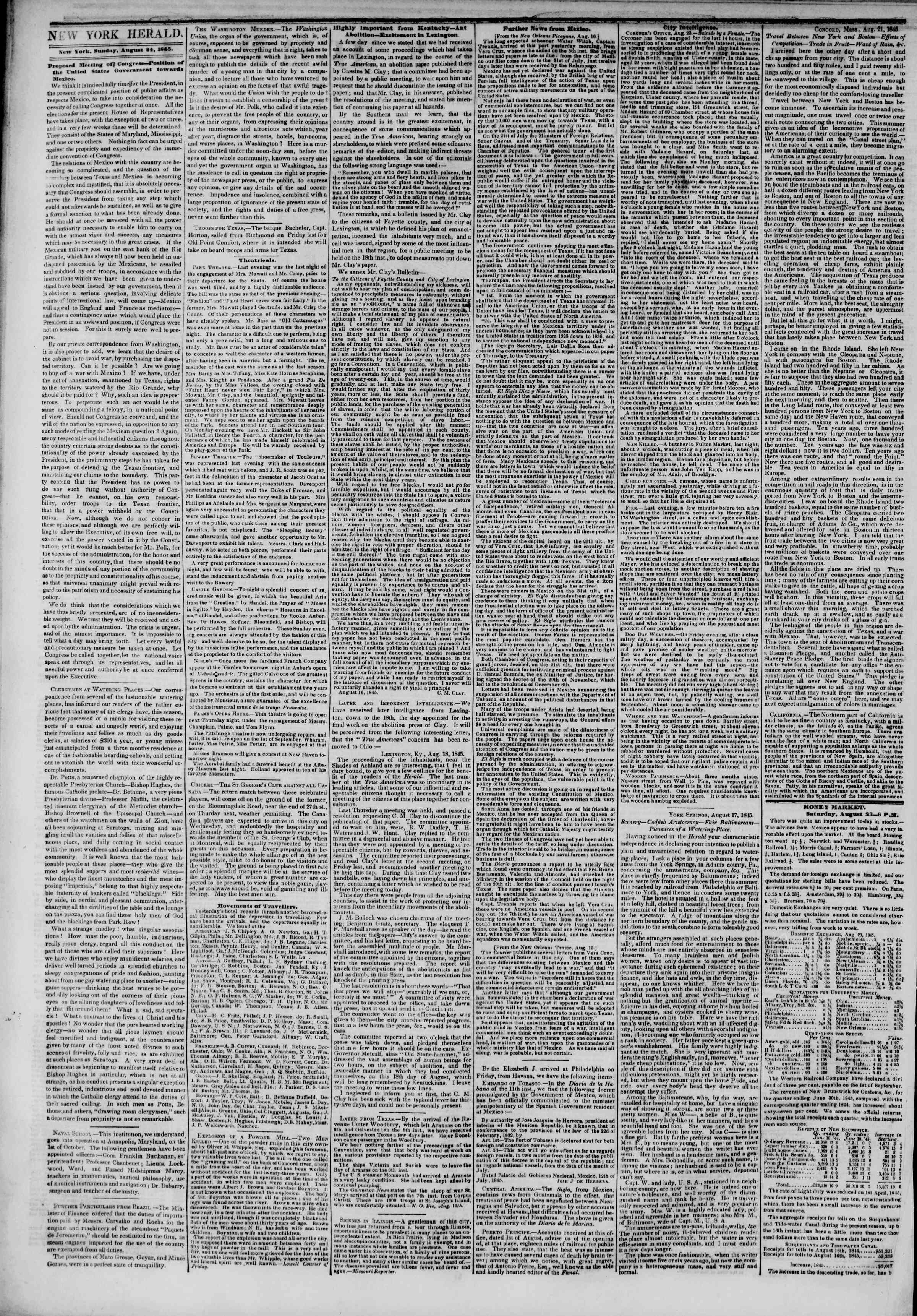 Newspaper of The New York Herald dated August 24, 1845 Page 2