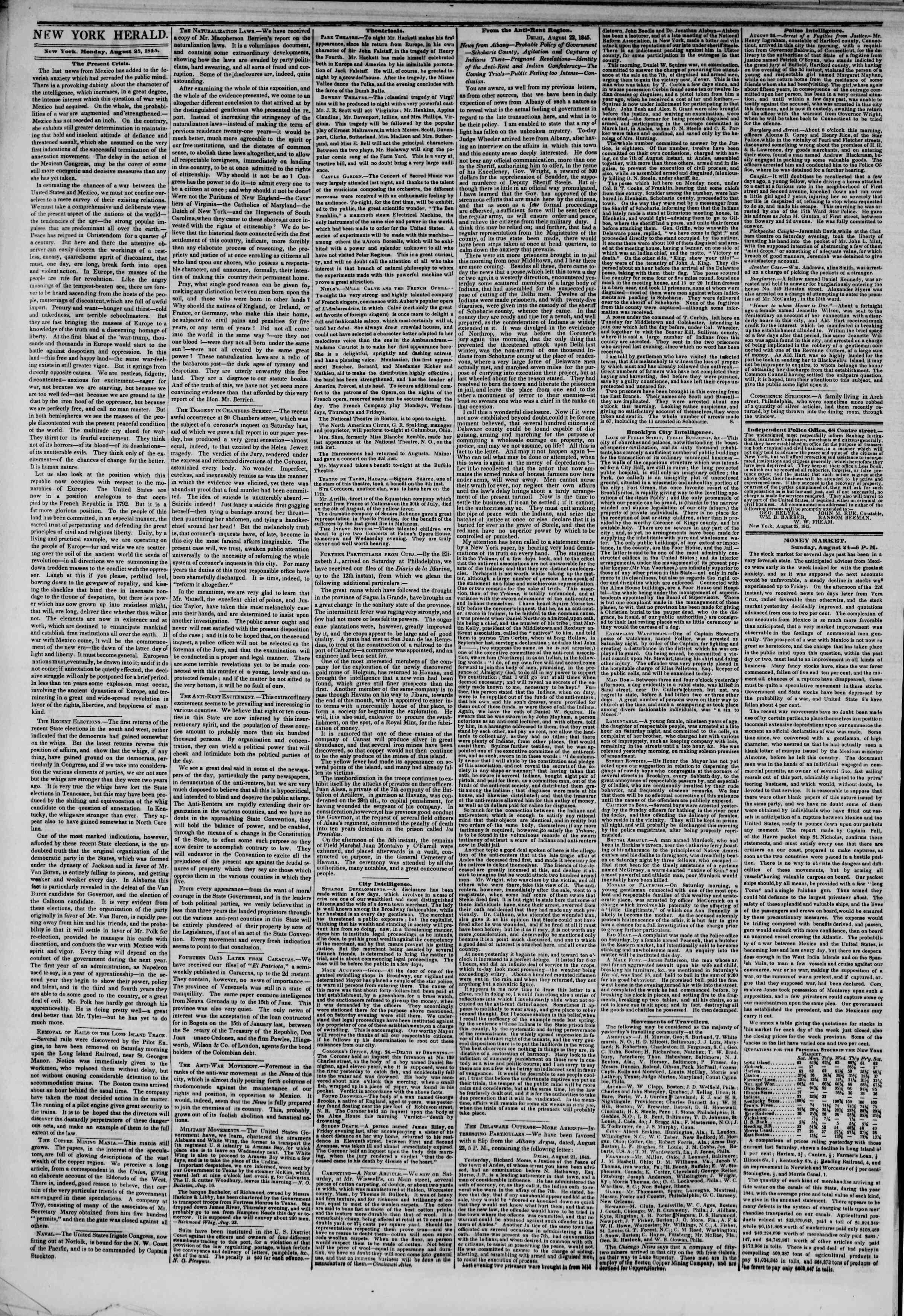 August 25, 1845 Tarihli The New York Herald Gazetesi Sayfa 2