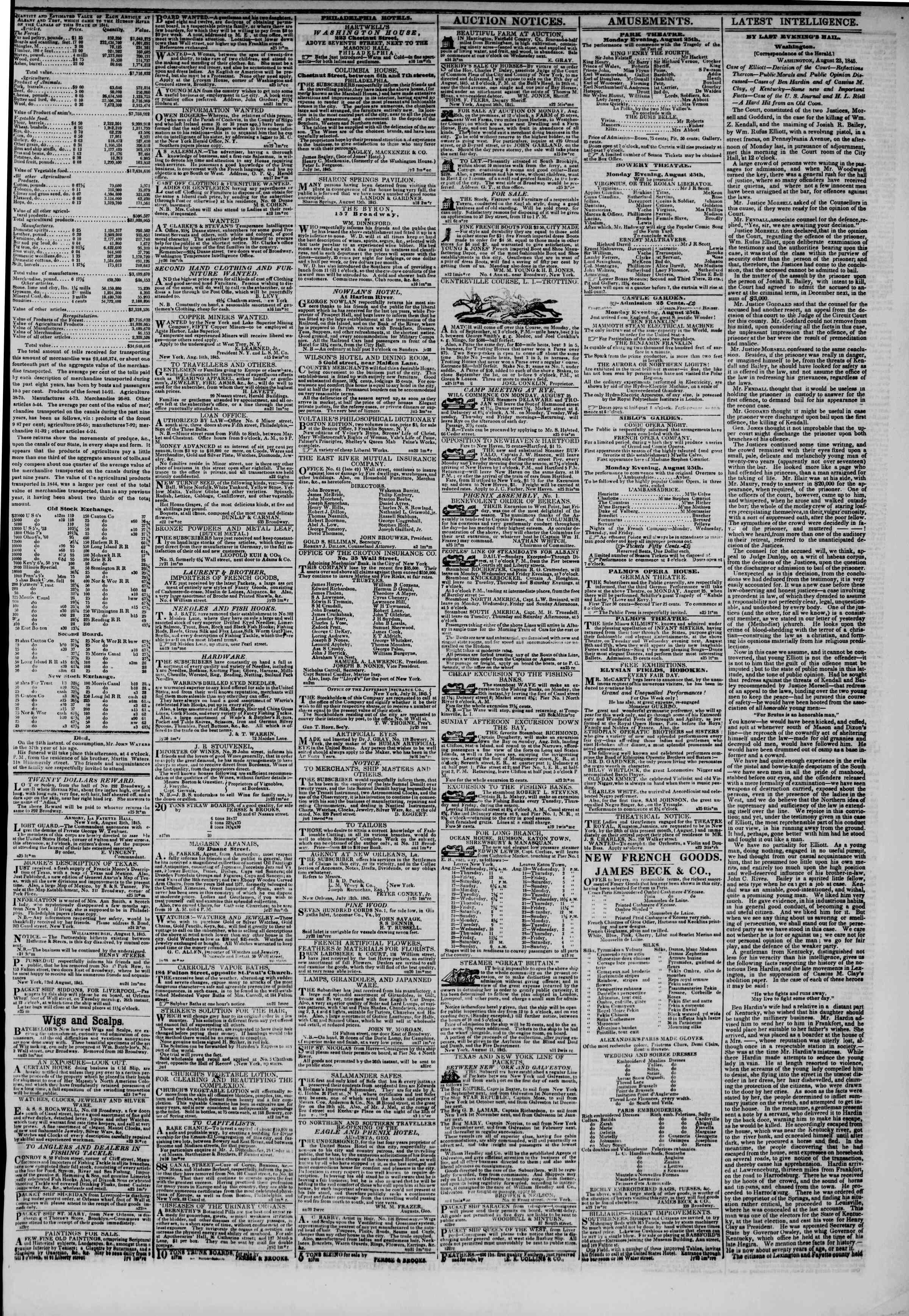 August 25, 1845 Tarihli The New York Herald Gazetesi Sayfa 3