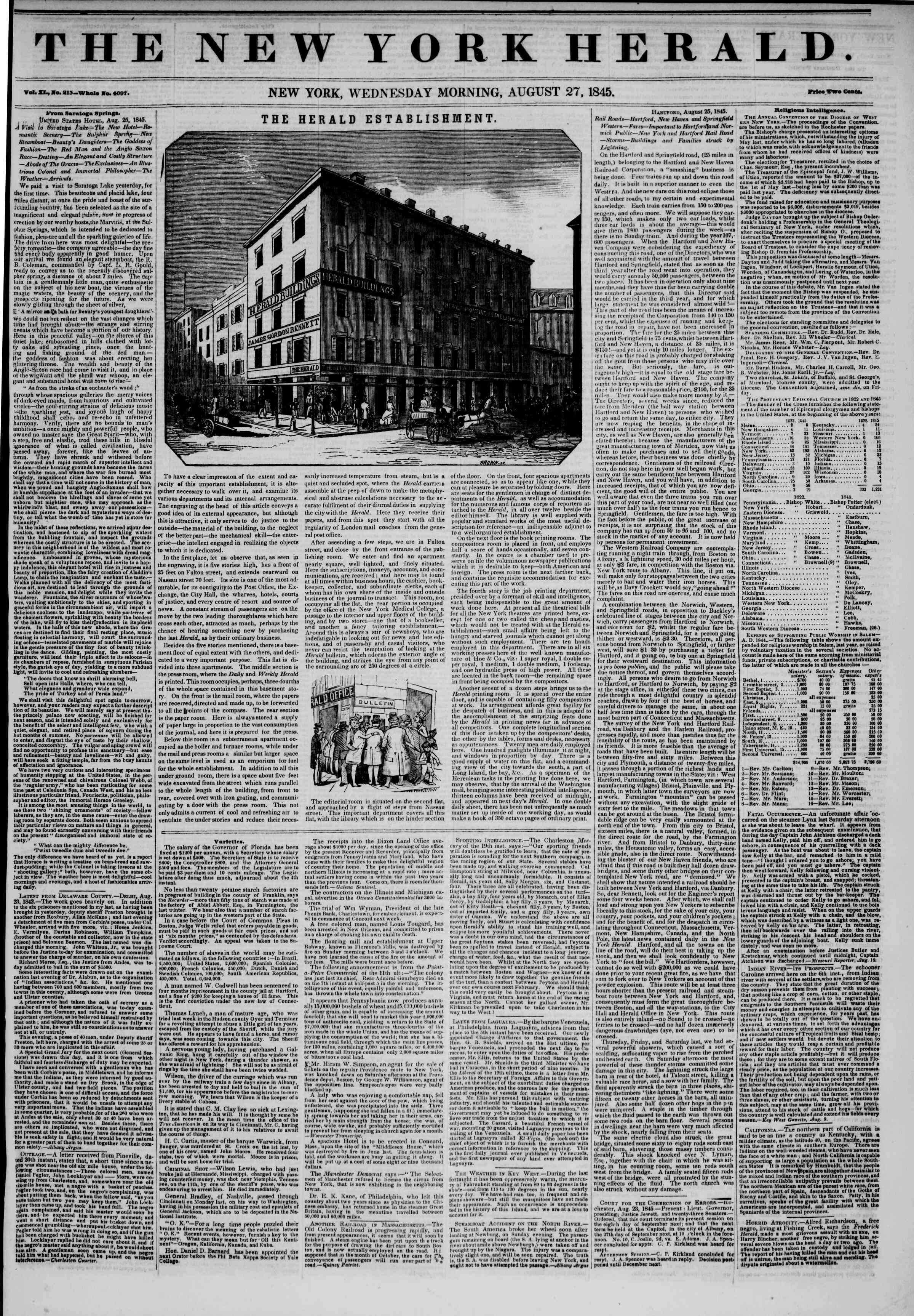 August 27, 1845 Tarihli The New York Herald Gazetesi Sayfa 1