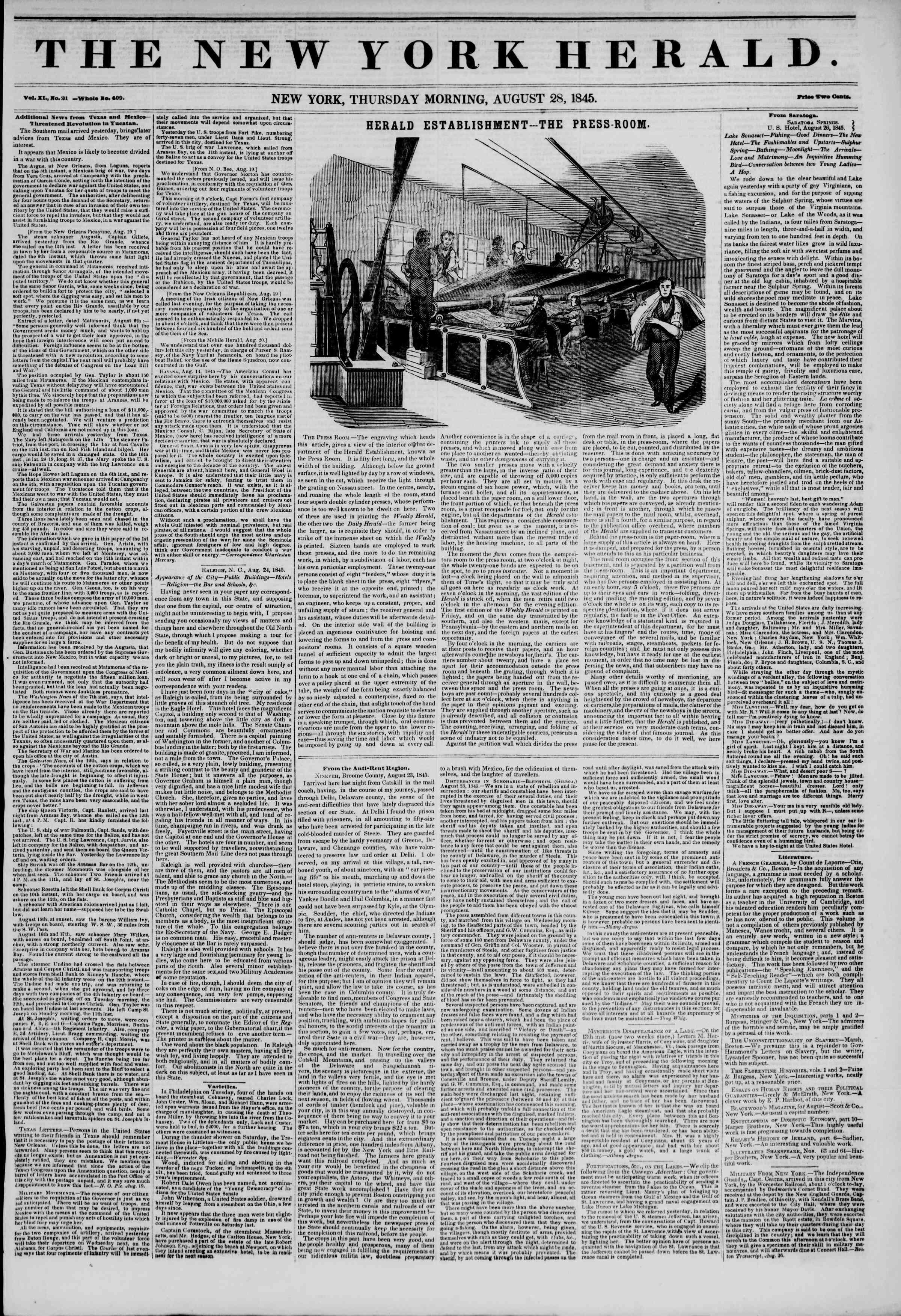 August 28, 1845 Tarihli The New York Herald Gazetesi Sayfa 1