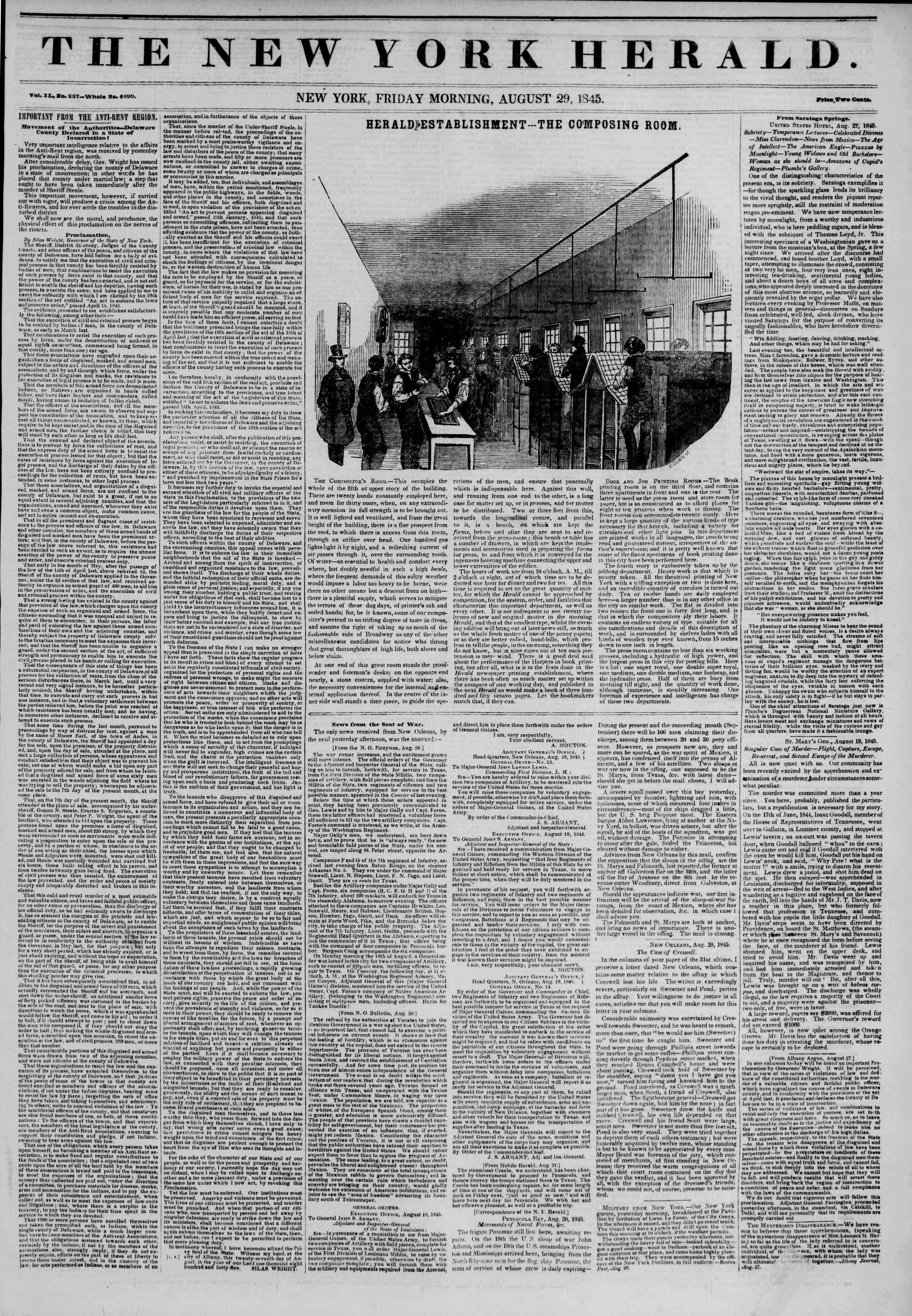 August 29, 1845 Tarihli The New York Herald Gazetesi Sayfa 1