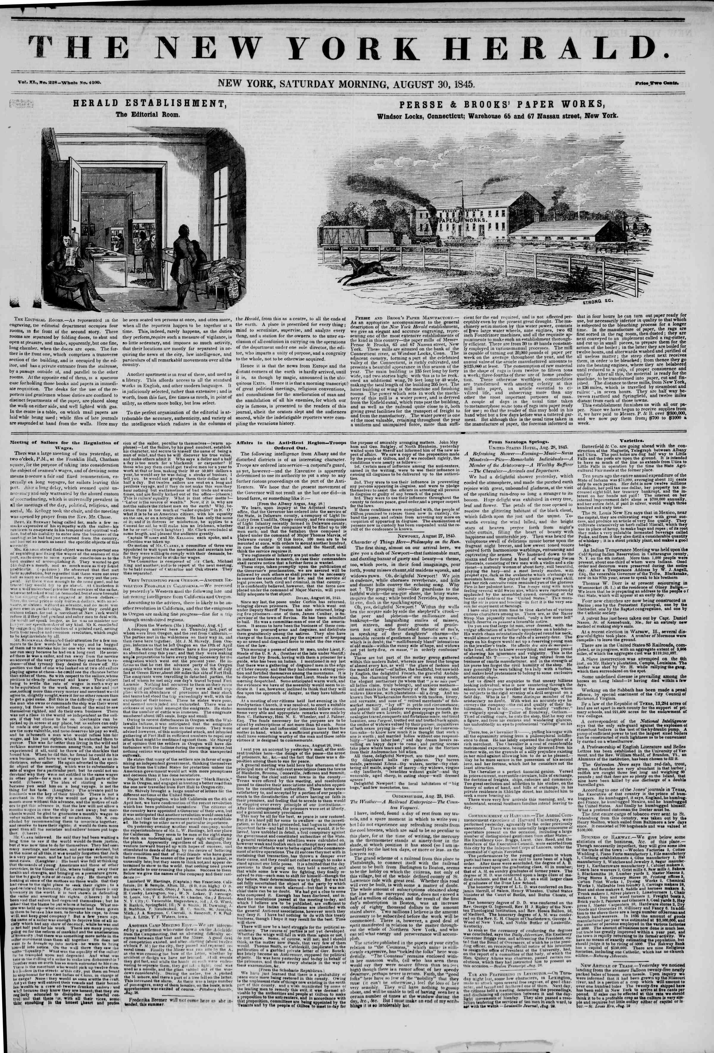 August 30, 1845 Tarihli The New York Herald Gazetesi Sayfa 1