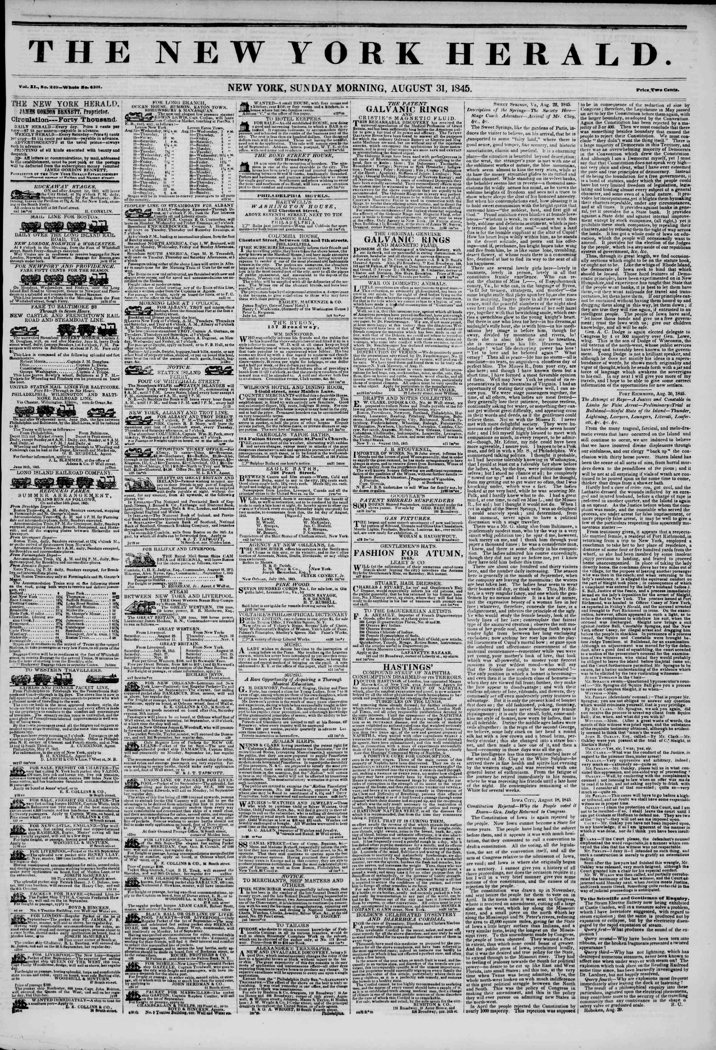 Newspaper of The New York Herald dated August 31, 1845 Page 1