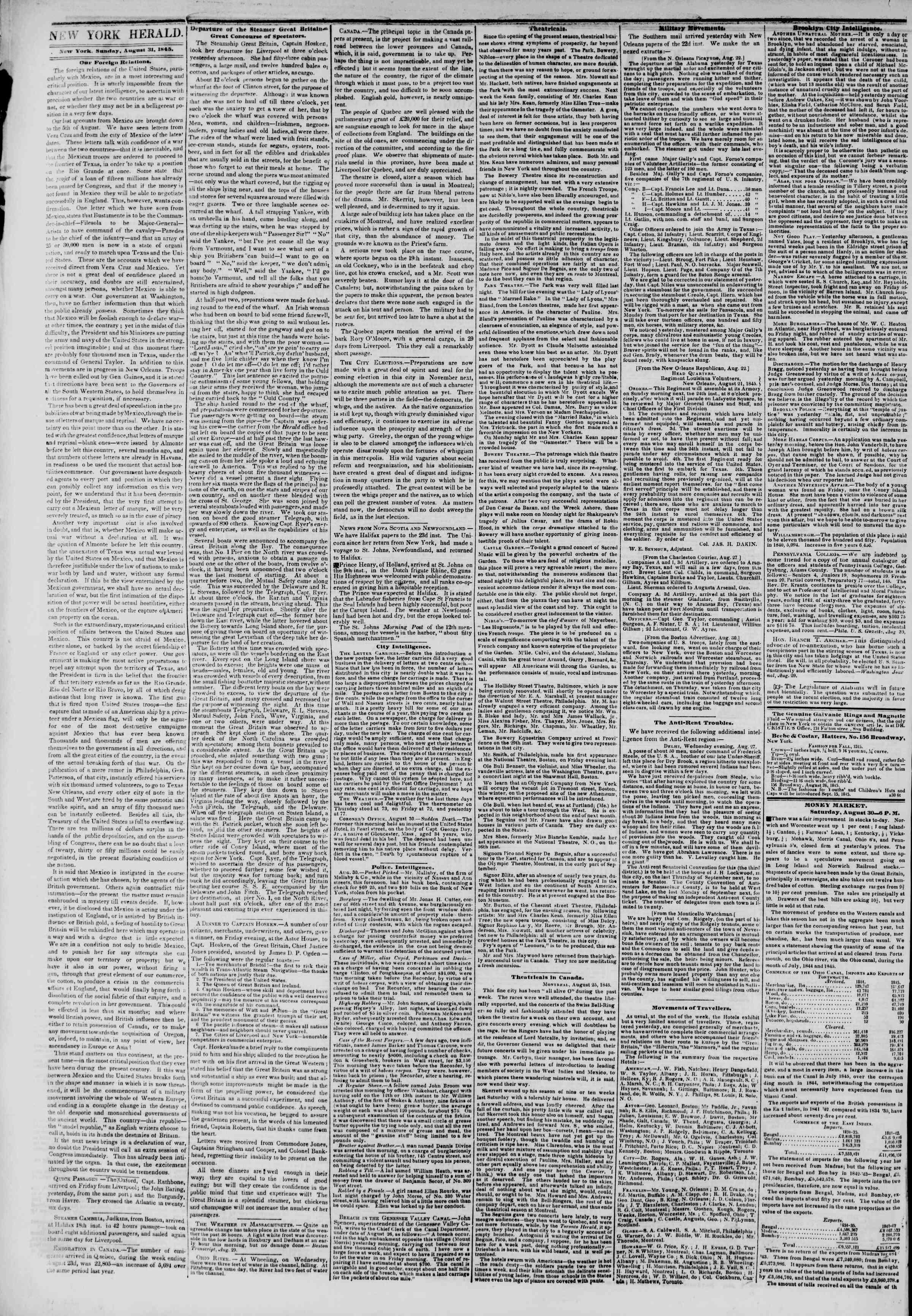 August 31, 1845 Tarihli The New York Herald Gazetesi Sayfa 2