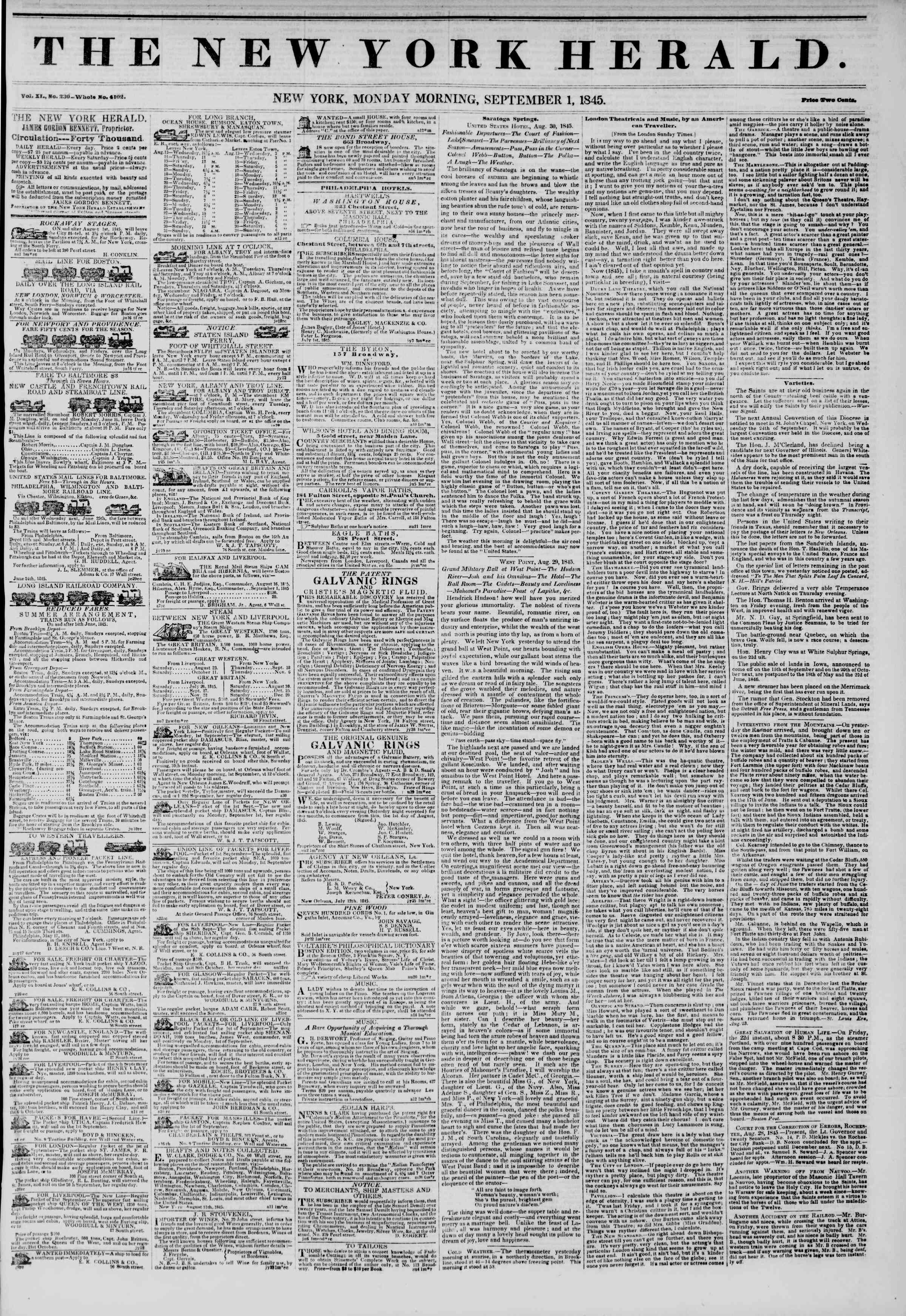 Newspaper of The New York Herald dated September 1, 1845 Page 1