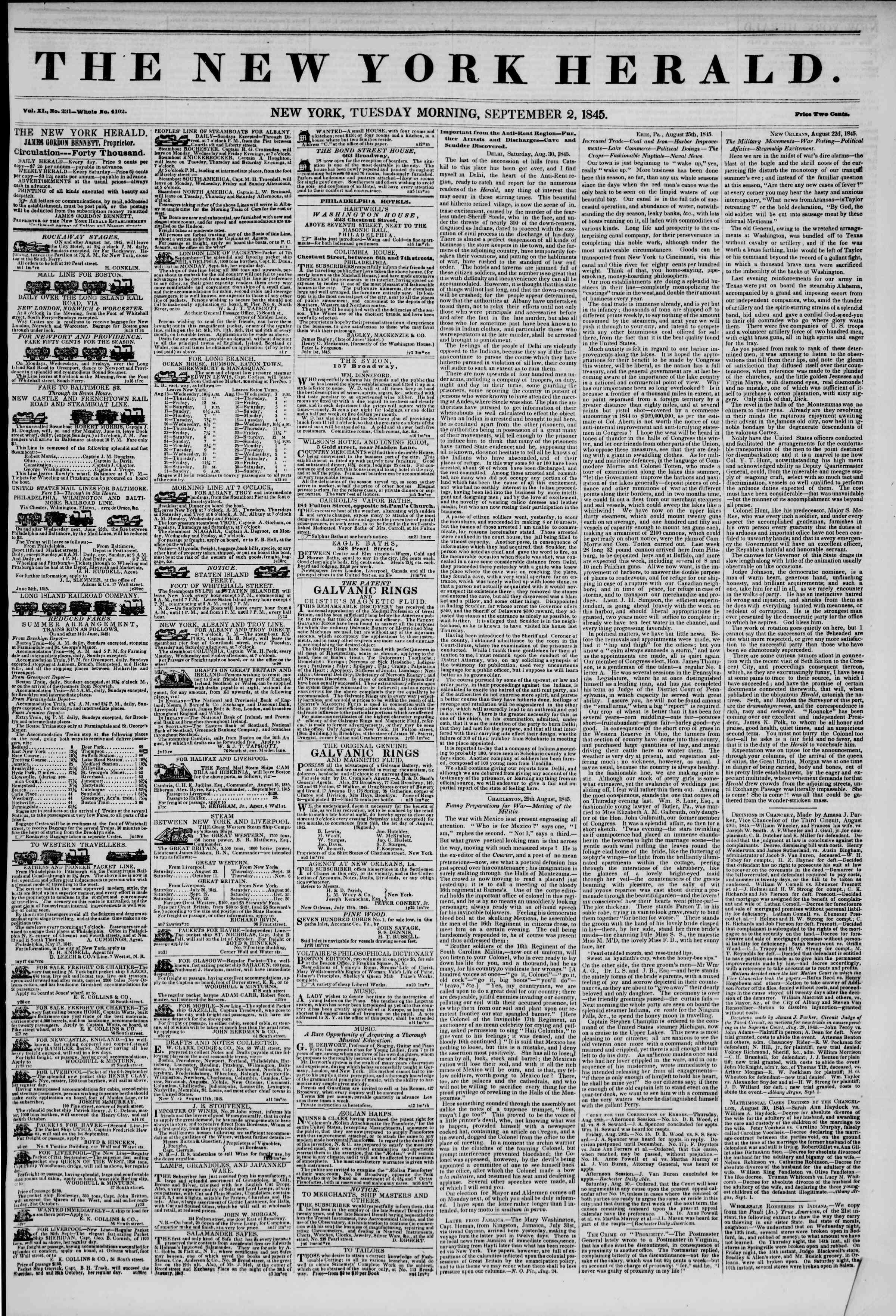 September 2, 1845 Tarihli The New York Herald Gazetesi Sayfa 1