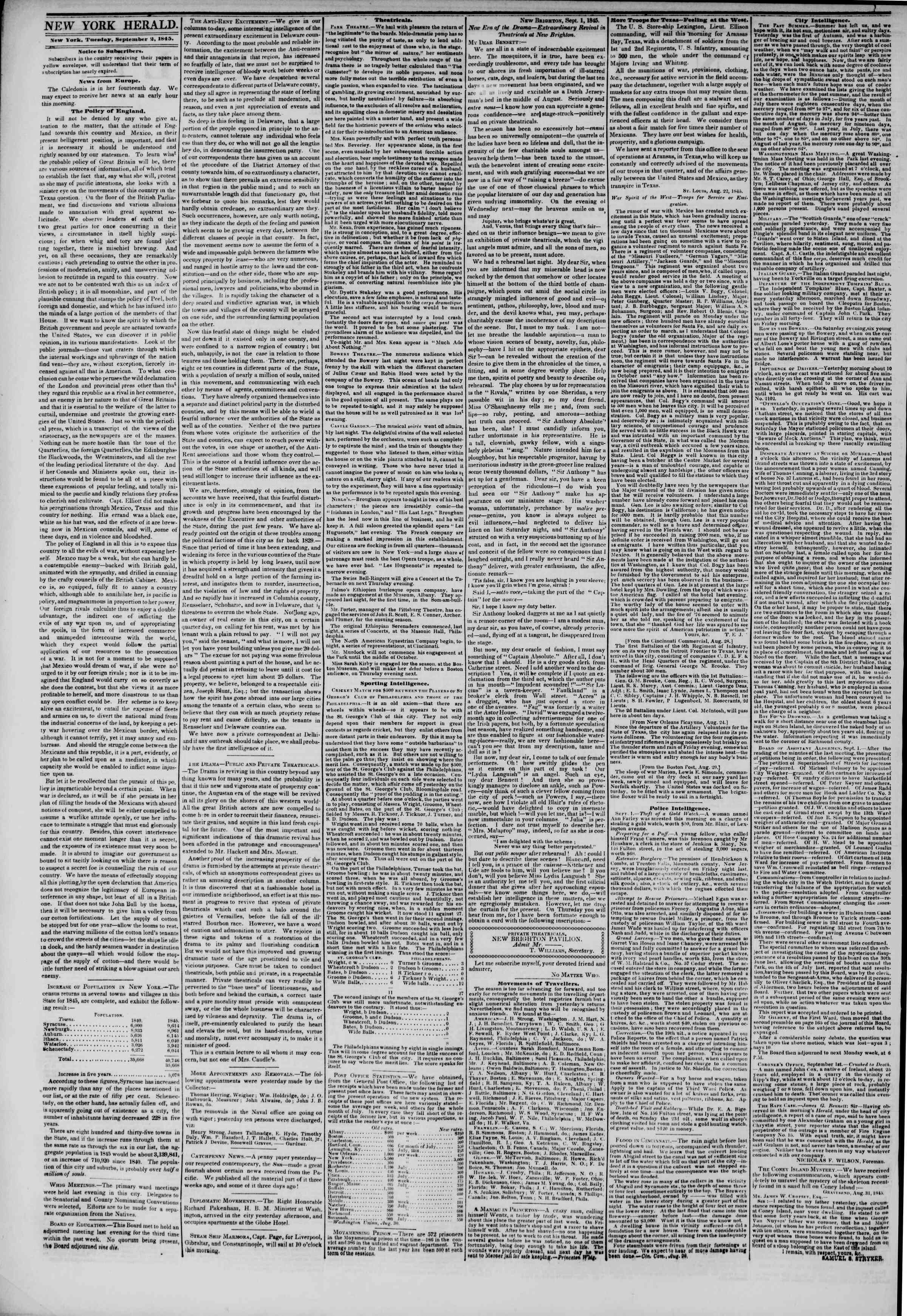 Newspaper of The New York Herald dated September 2, 1845 Page 2