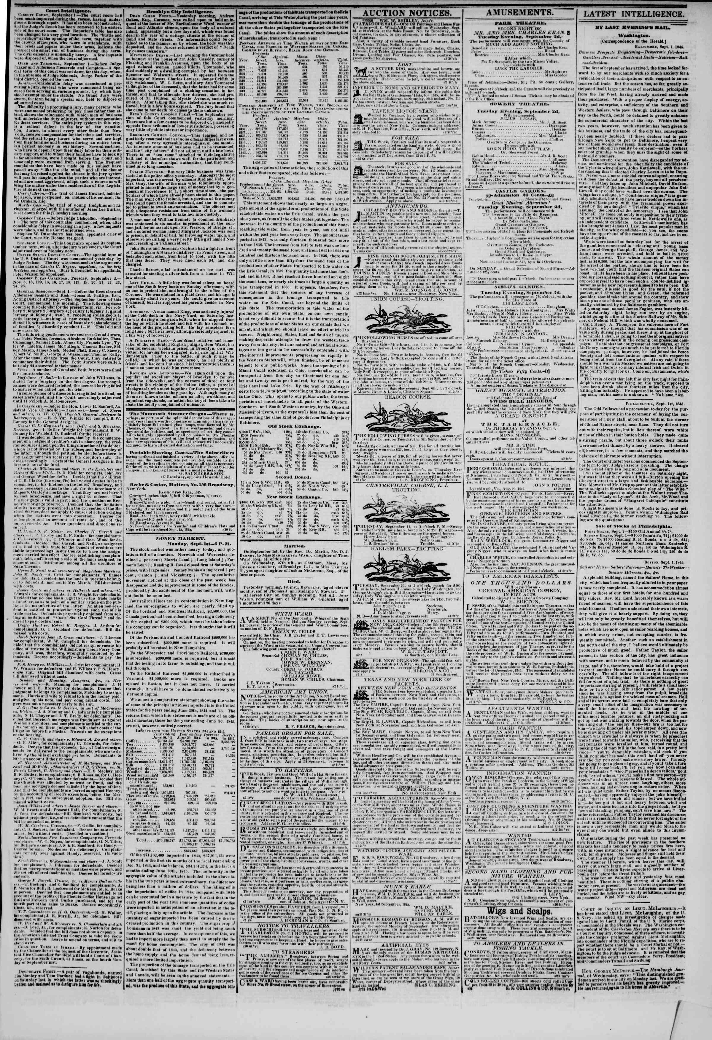 Newspaper of The New York Herald dated September 2, 1845 Page 3