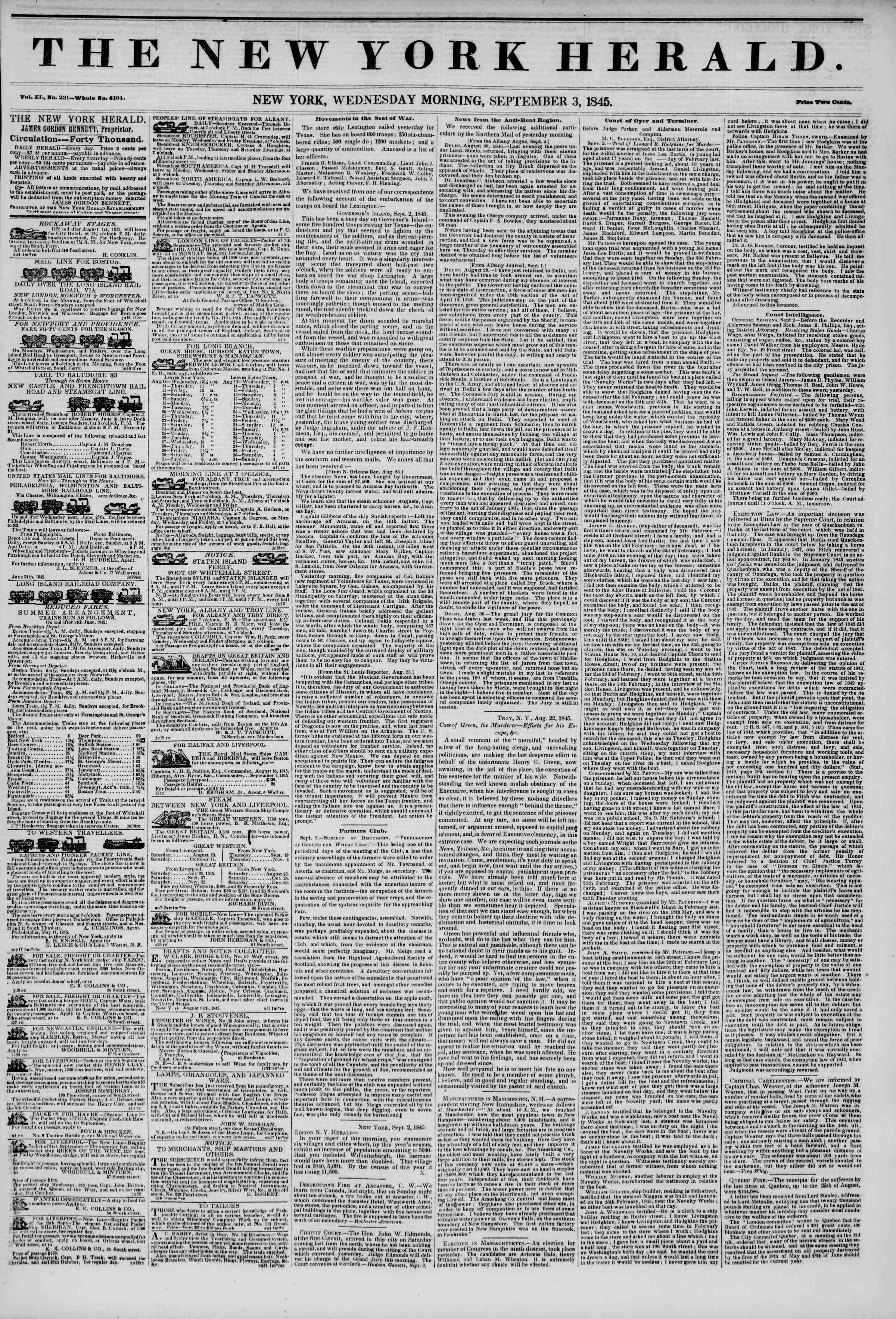 3 Eylül 1845 tarihli The New York Herald Gazetesi Sayfa 1