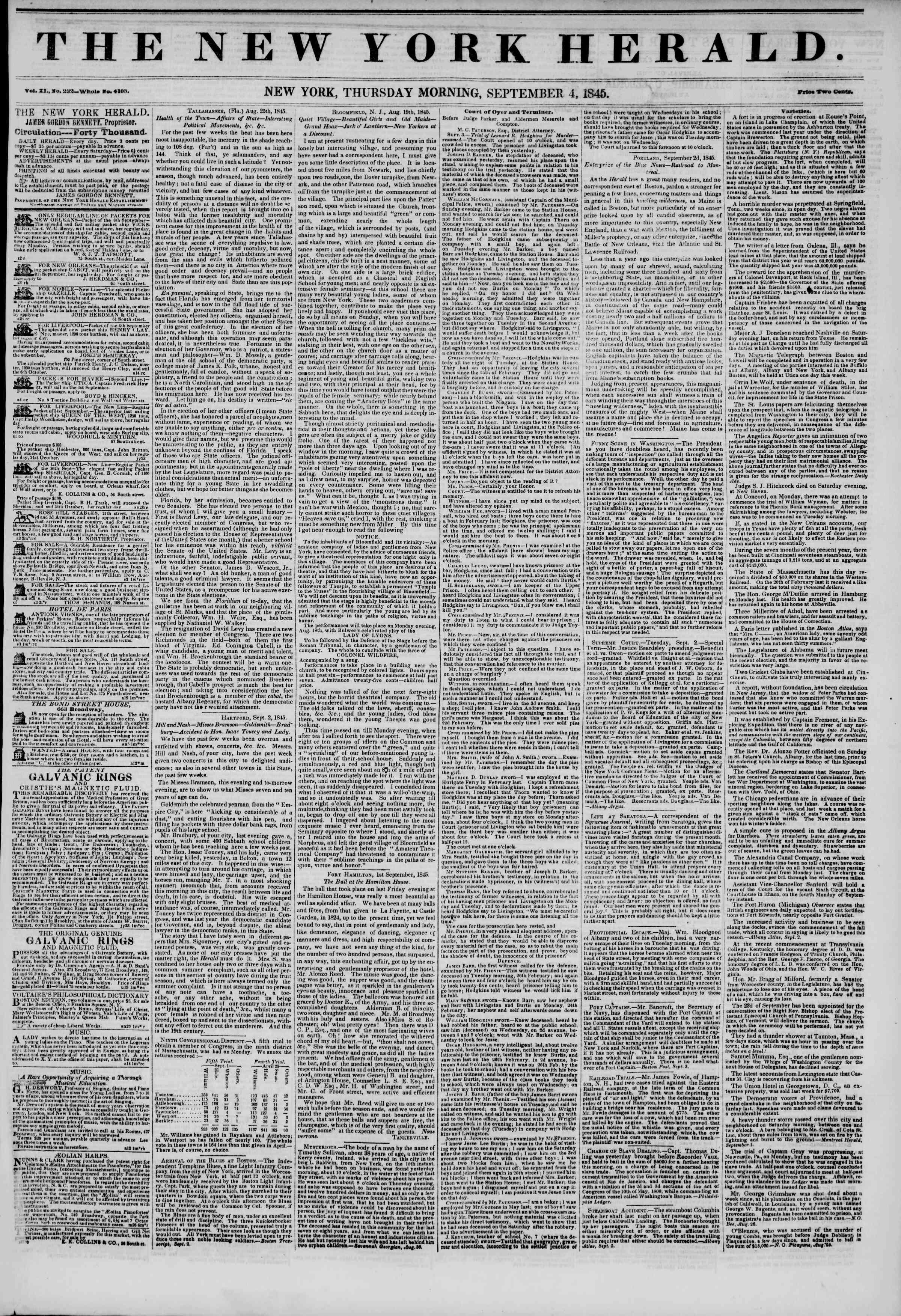 September 4, 1845 Tarihli The New York Herald Gazetesi Sayfa 1