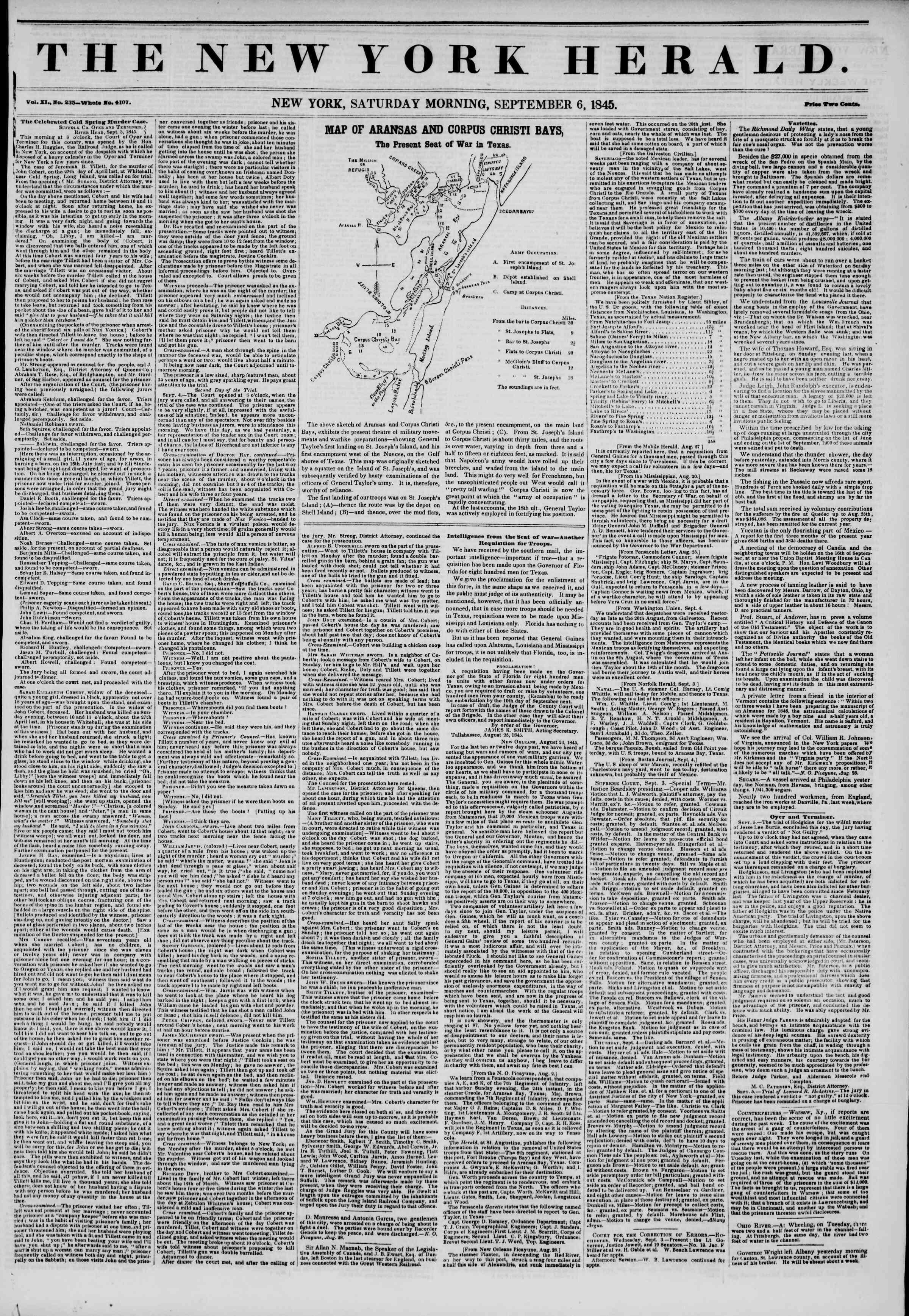September 6, 1845 Tarihli The New York Herald Gazetesi Sayfa 1
