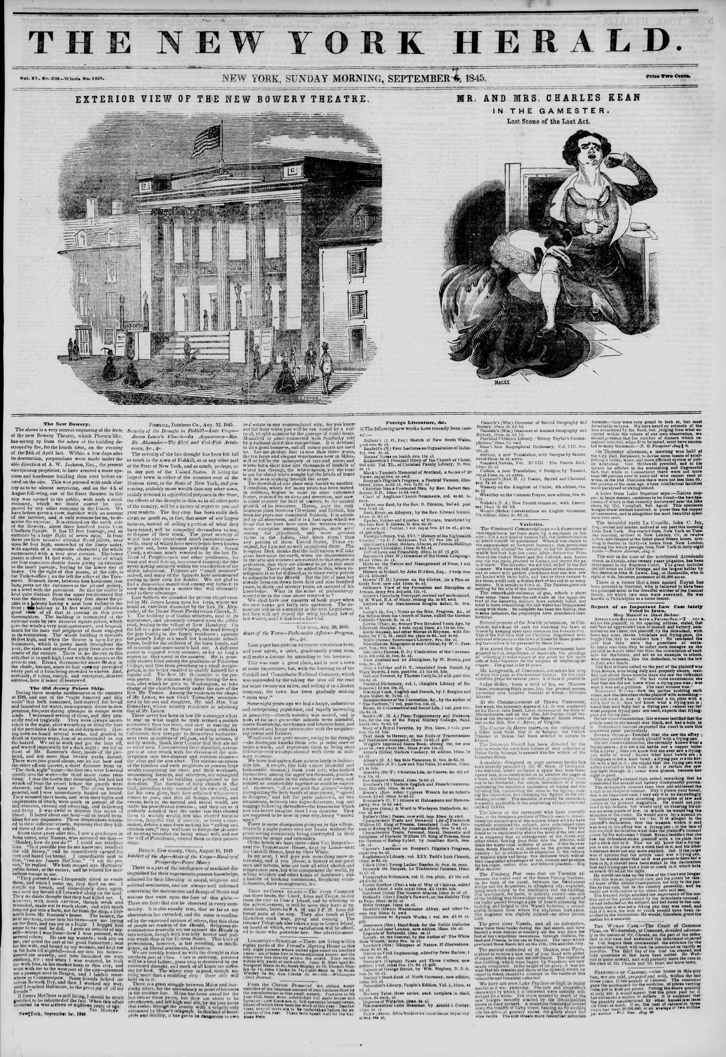 Newspaper of The New York Herald dated September 7, 1845 Page 1
