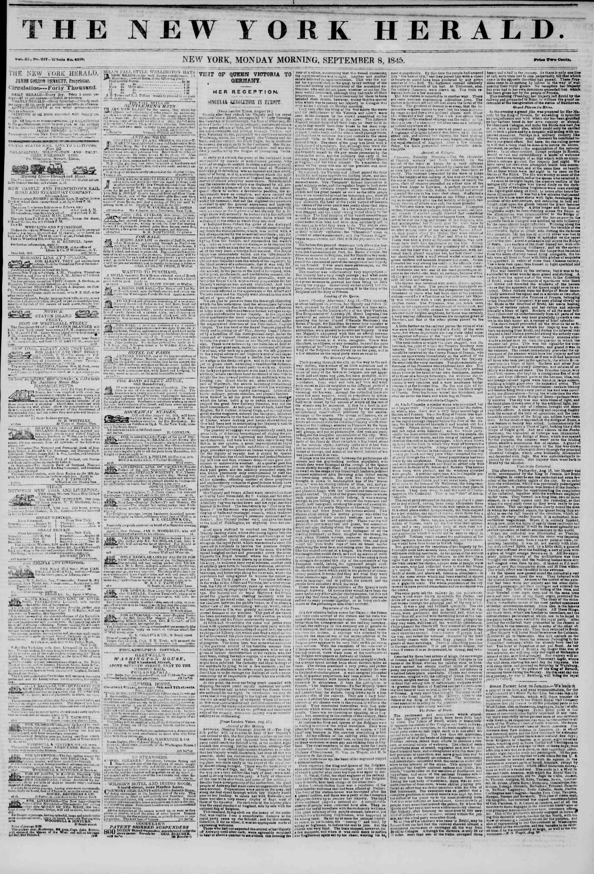 September 8, 1845 Tarihli The New York Herald Gazetesi Sayfa 1