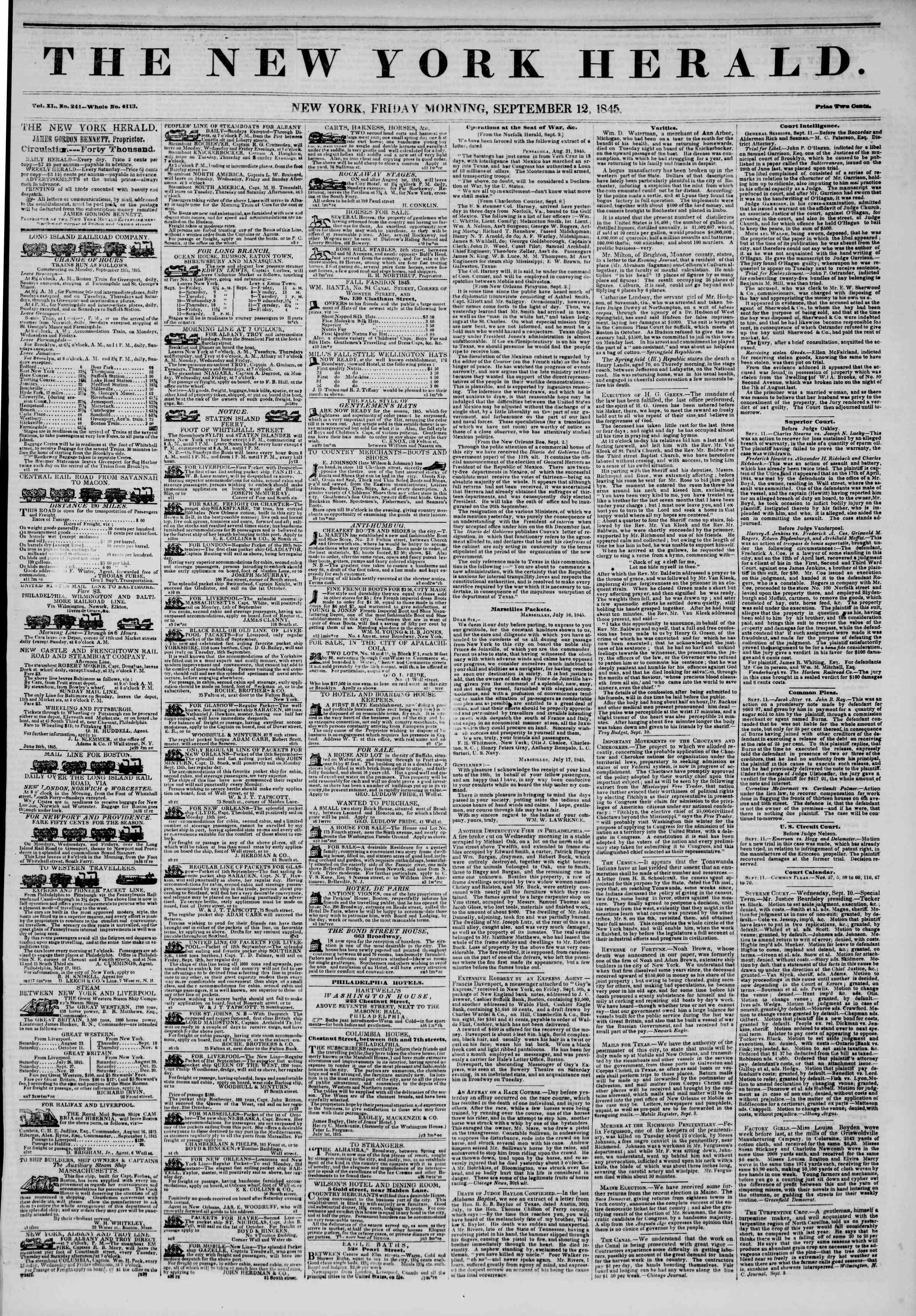 12 Eylül 1845 Tarihli The New York Herald Gazetesi Sayfa 1