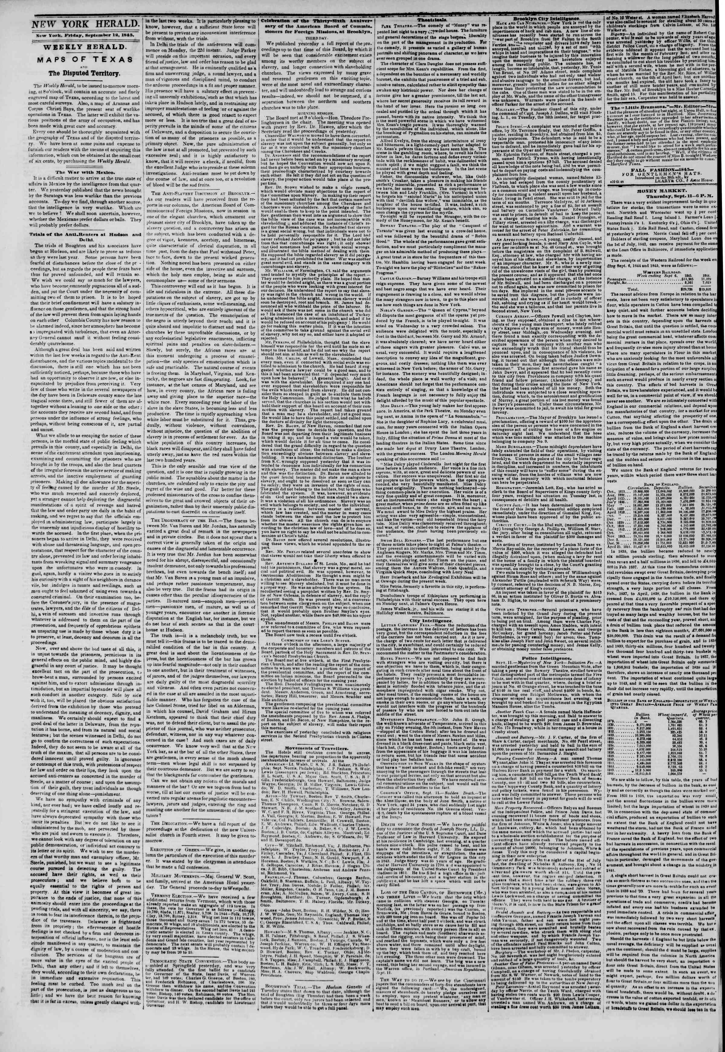 Newspaper of The New York Herald dated September 12, 1845 Page 2