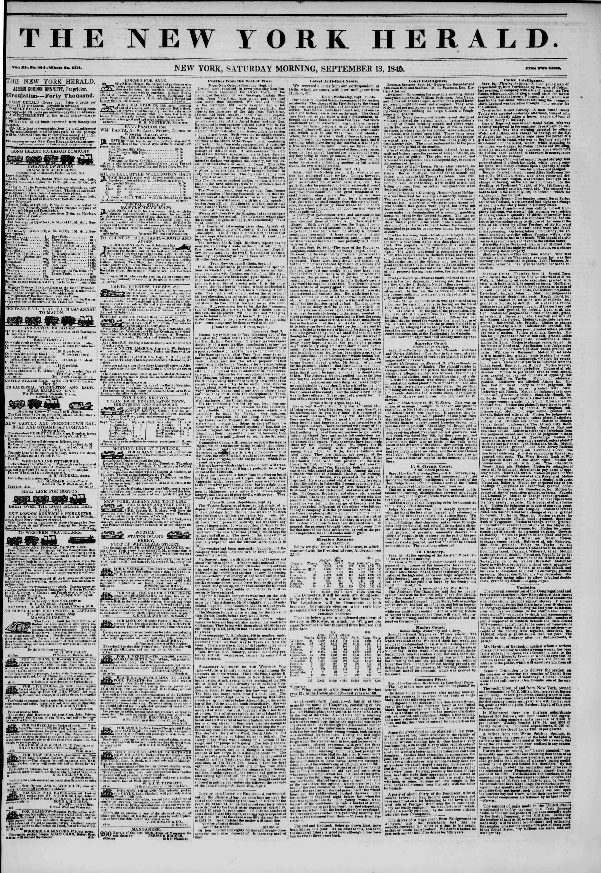 September 13, 1845 Tarihli The New York Herald Gazetesi Sayfa 1