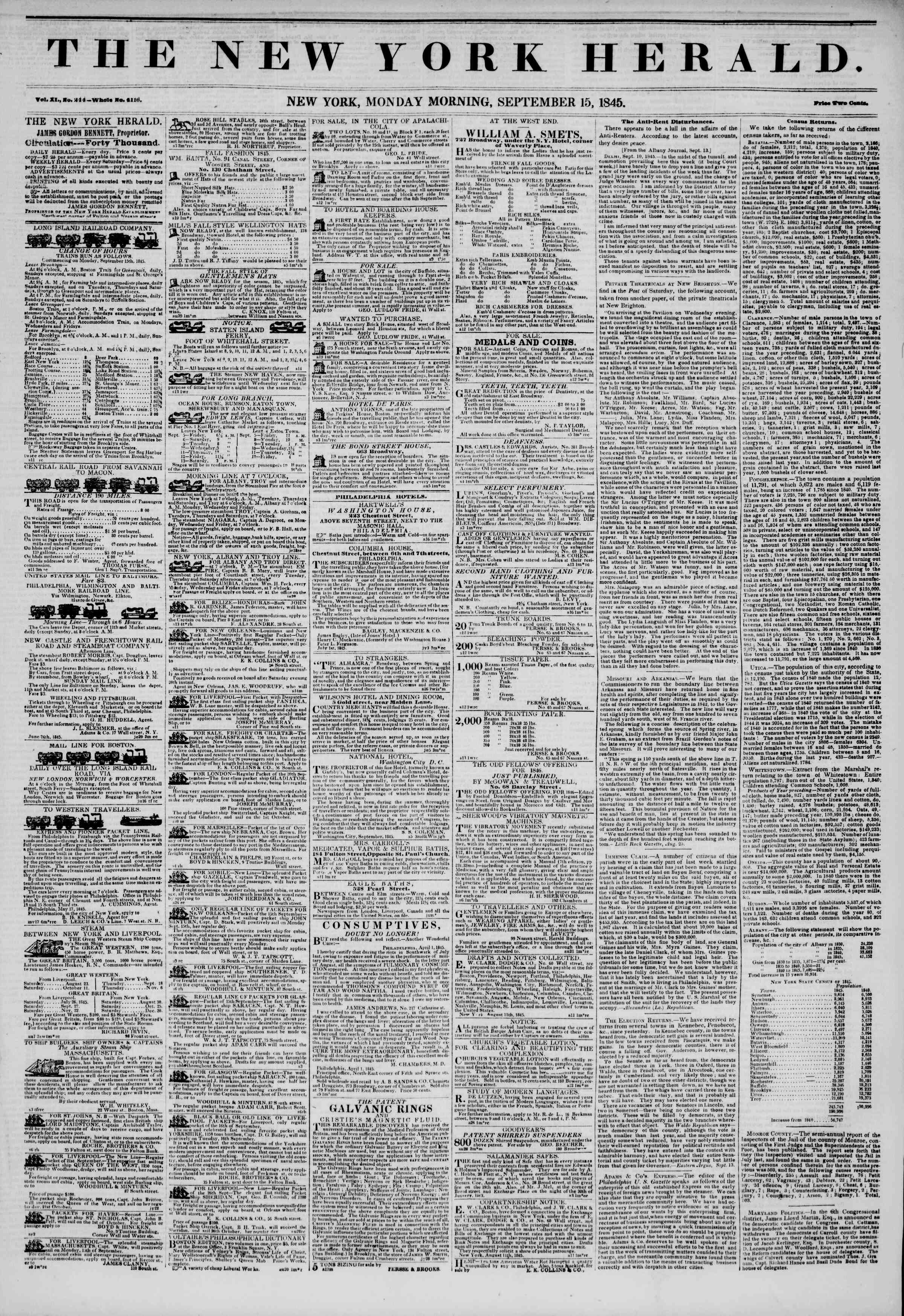 September 15, 1845 Tarihli The New York Herald Gazetesi Sayfa 1