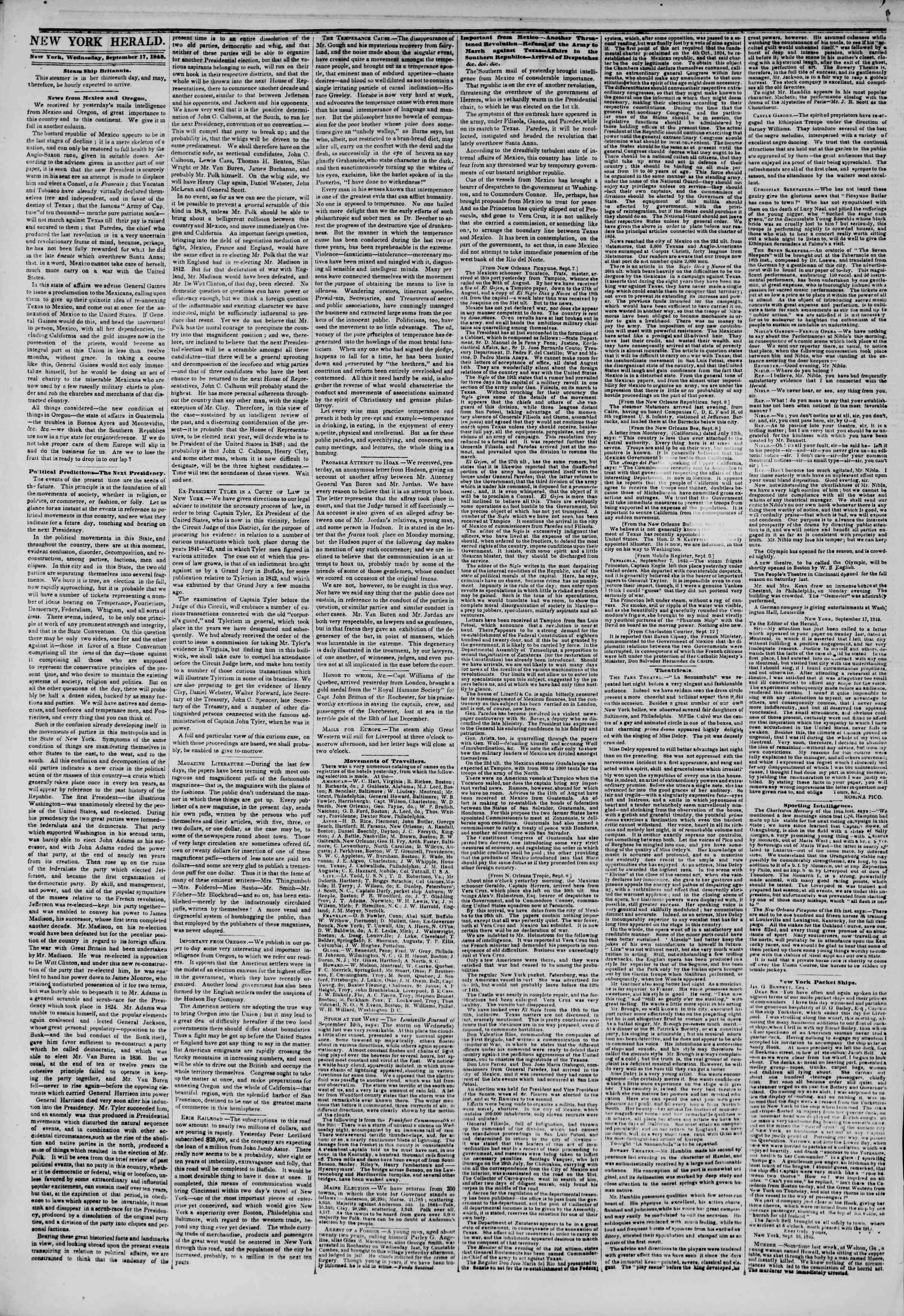 September 17, 1845 Tarihli The New York Herald Gazetesi Sayfa 2