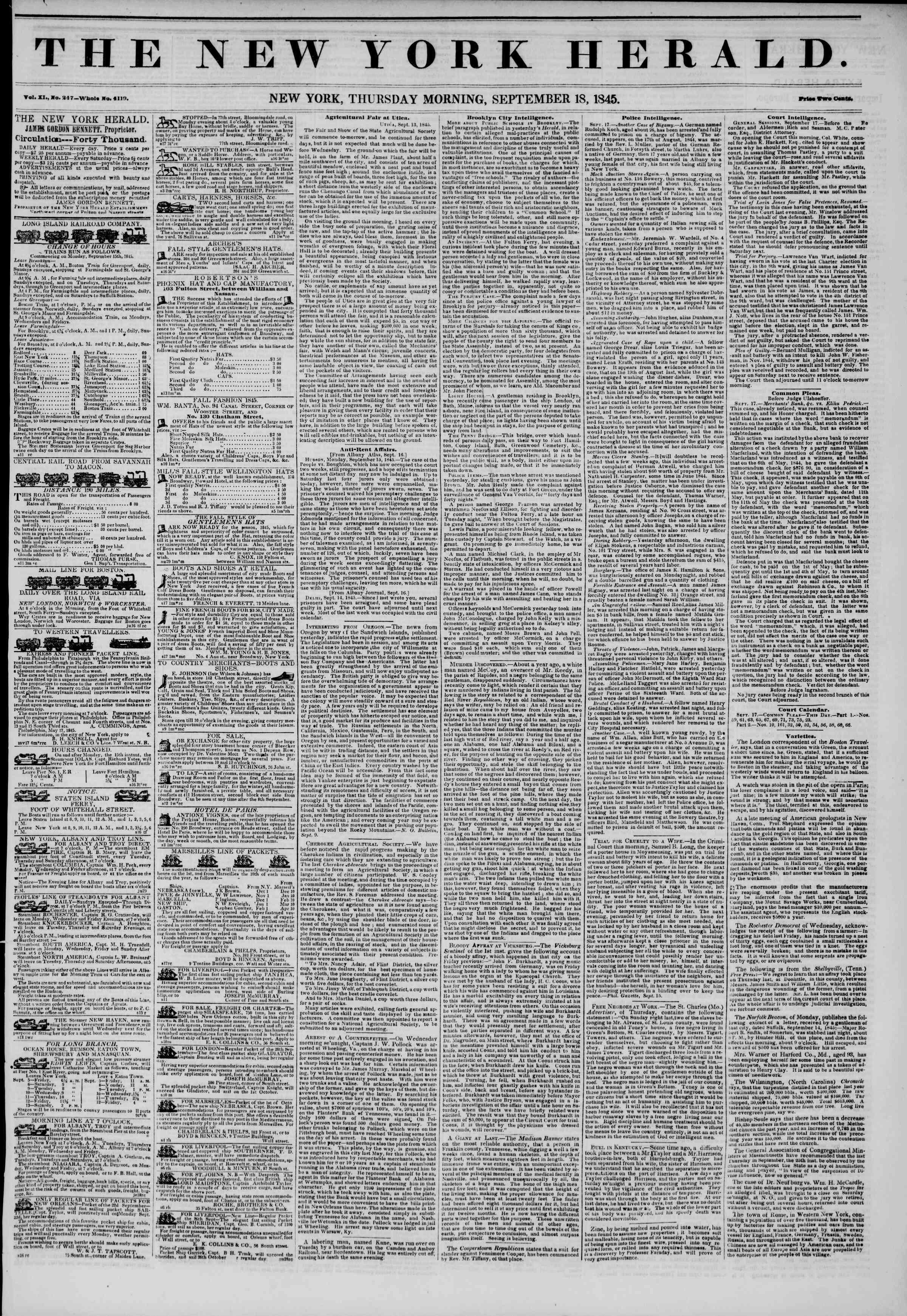 September 18, 1845 Tarihli The New York Herald Gazetesi Sayfa 1