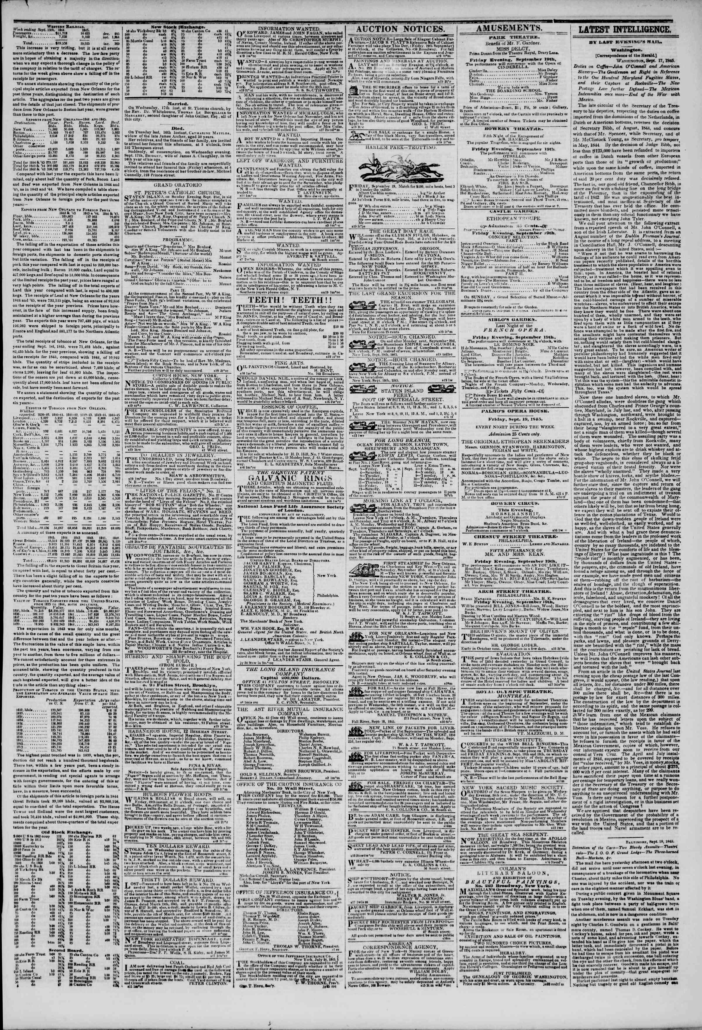 Newspaper of The New York Herald dated September 19, 1845 Page 3