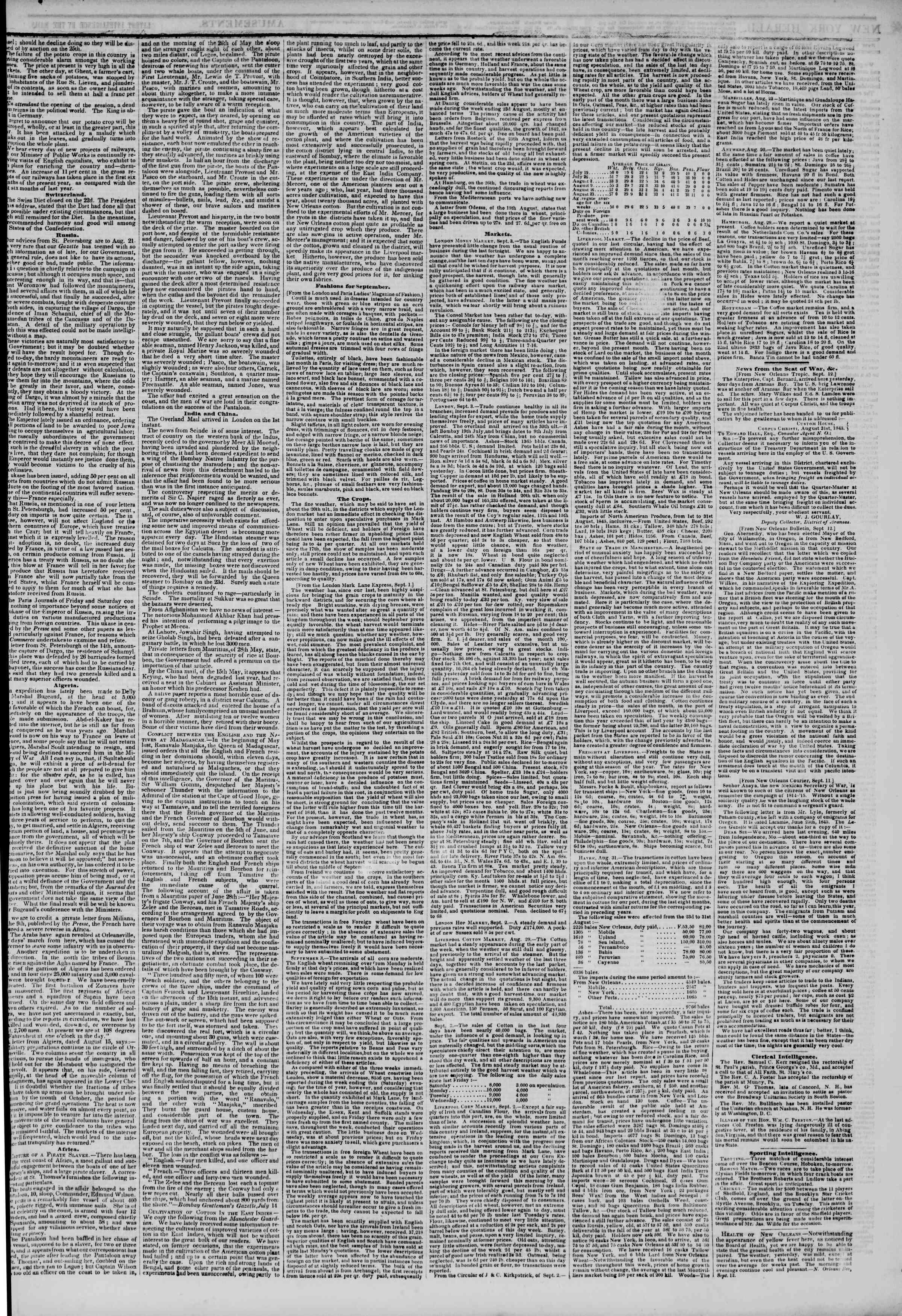 September 21, 1845 Tarihli The New York Herald Gazetesi Sayfa 3