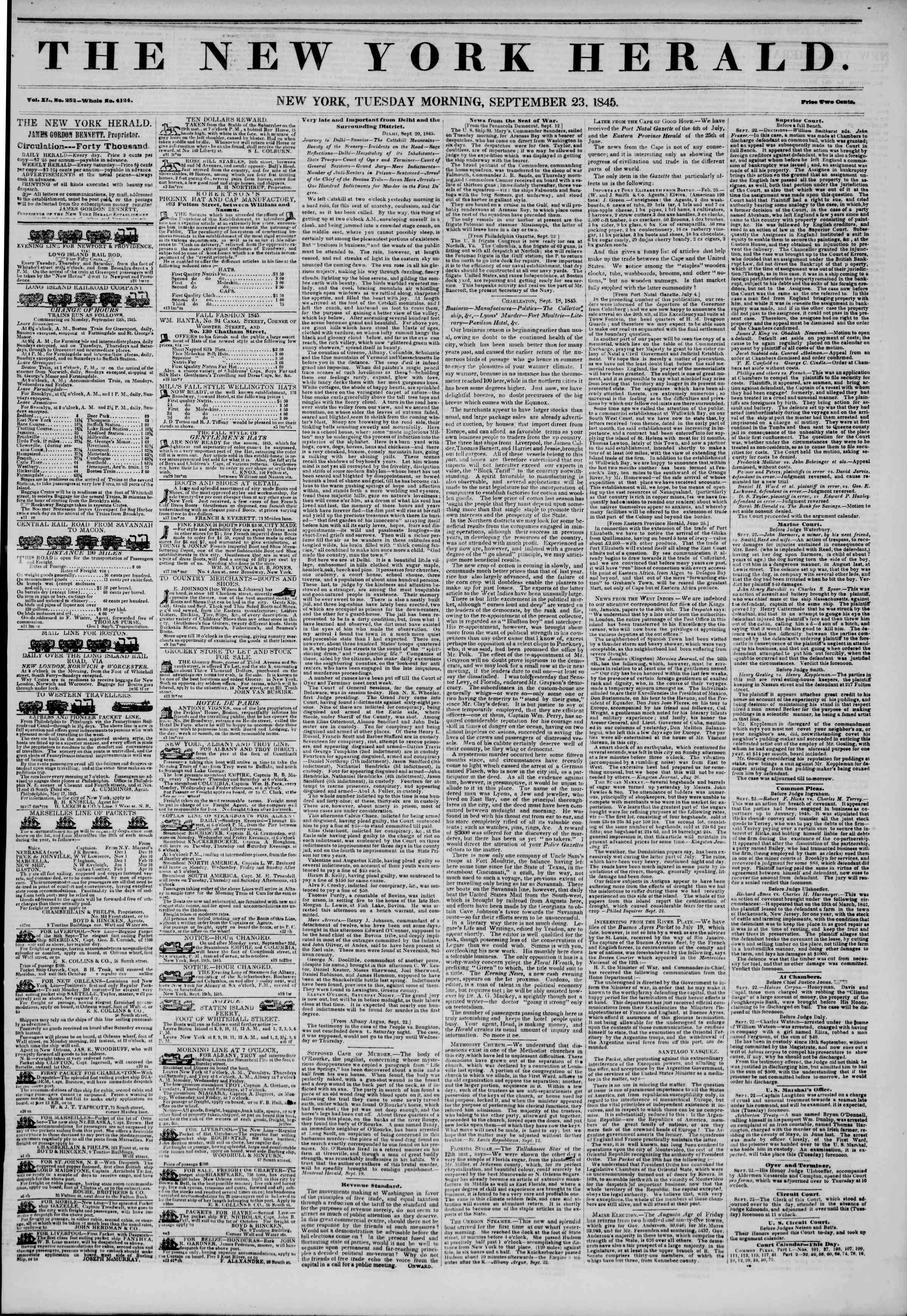 September 23, 1845 Tarihli The New York Herald Gazetesi Sayfa 1