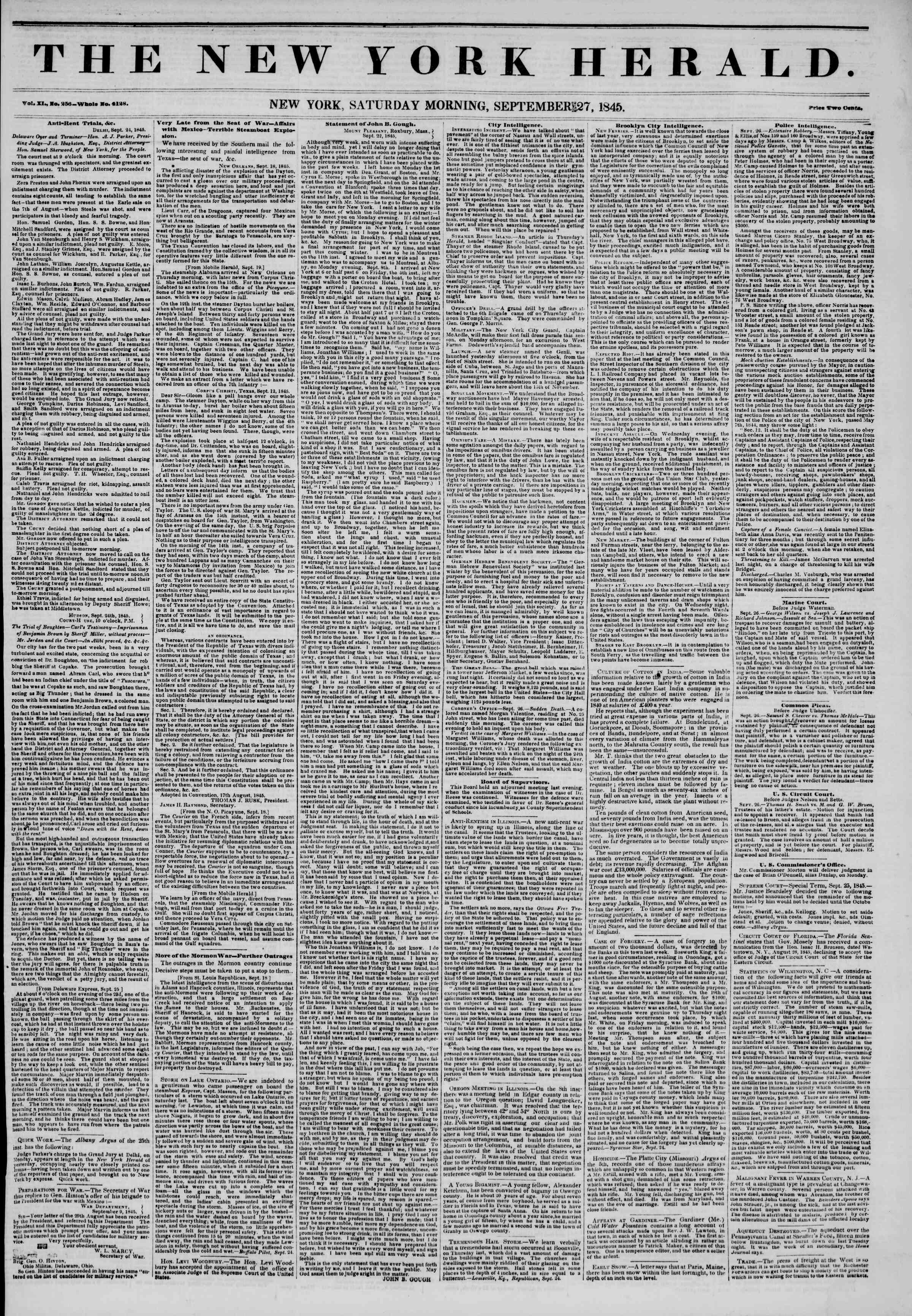 Newspaper of The New York Herald dated September 27, 1845 Page 1